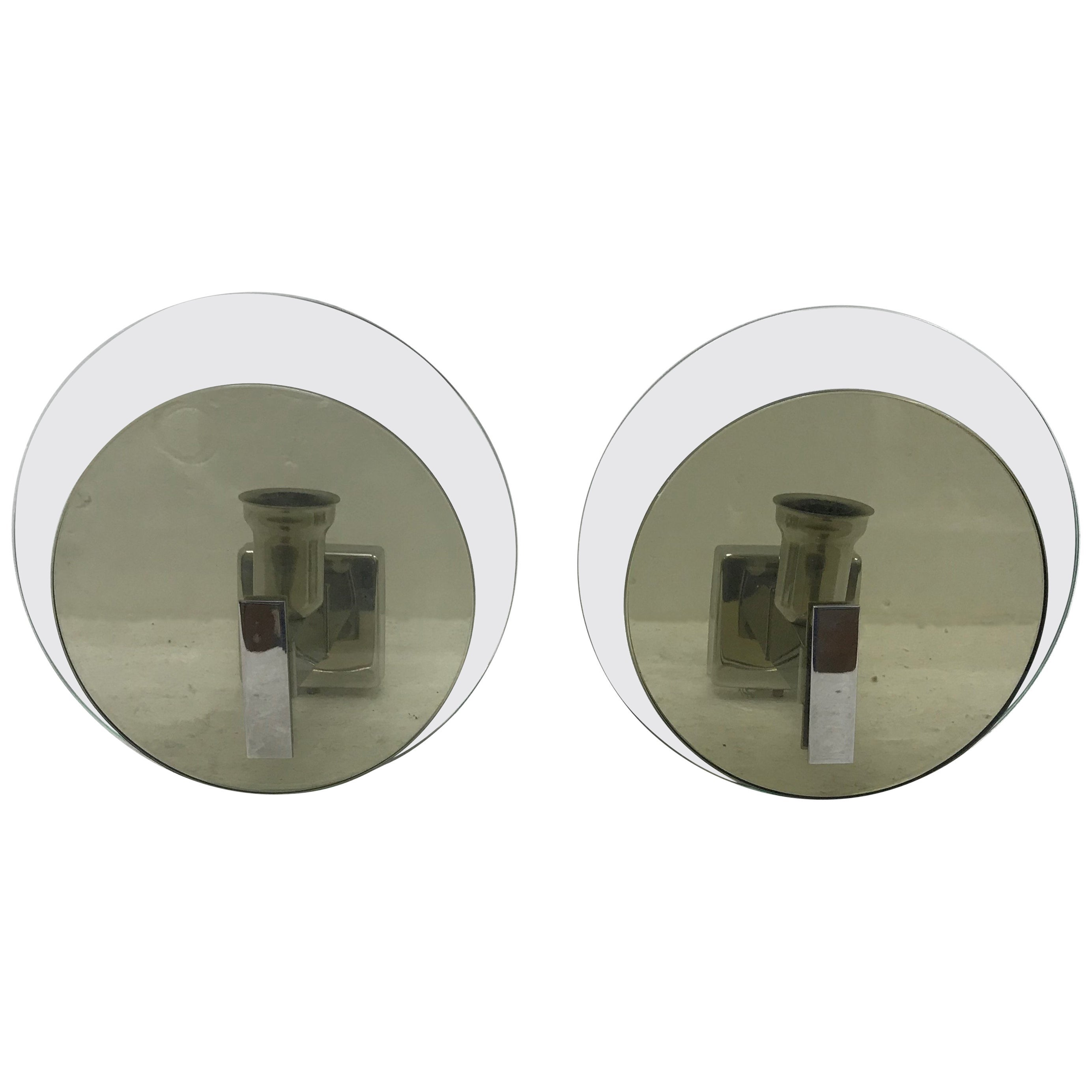 Two Space Age Italian Steel and Glass Wall Sconces, Lupi Cristal Luxor, 1960