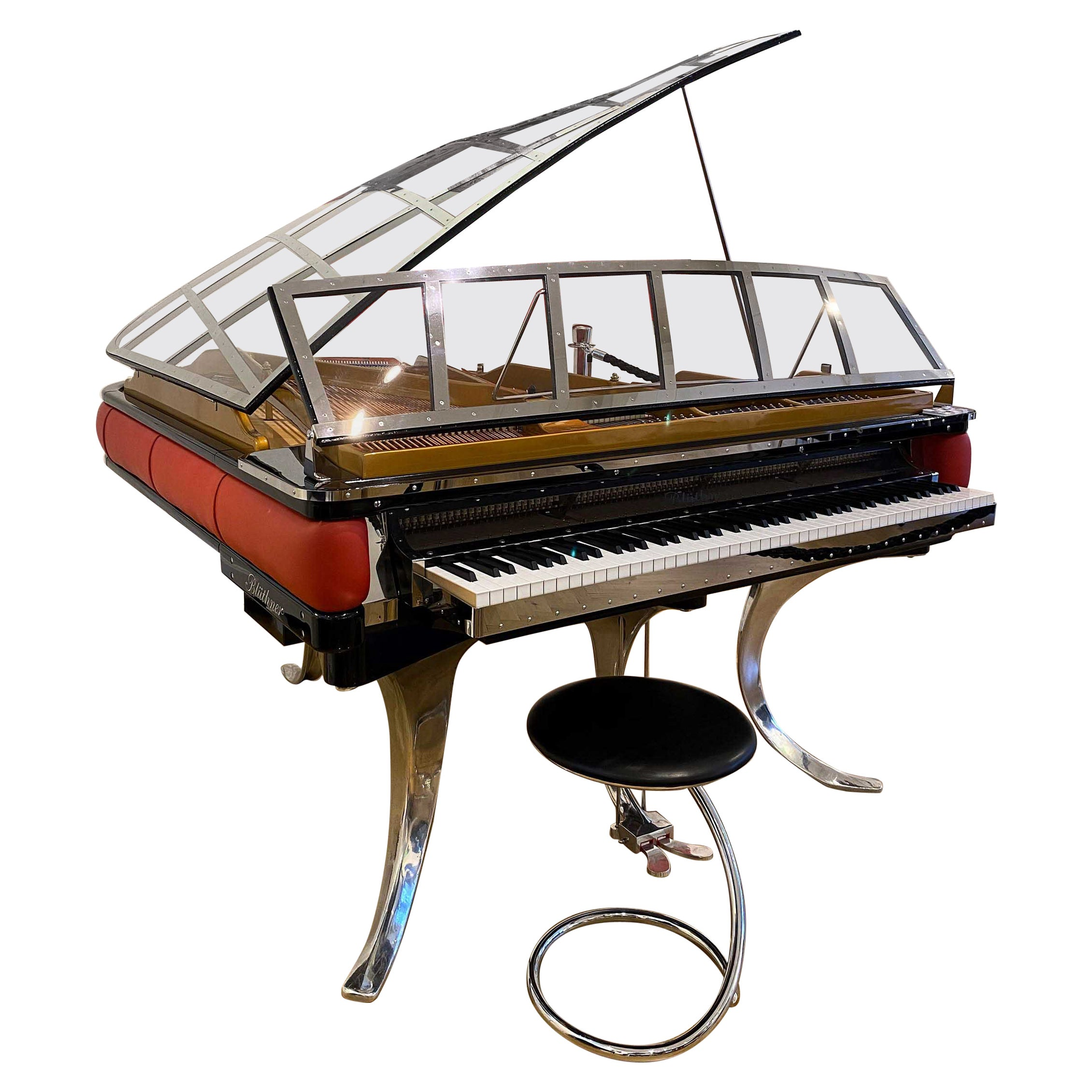 PH Grand Piano PH186 Excellence, Red Leather and Chrome Lid