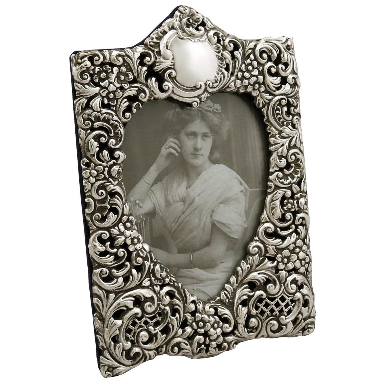 Antique Edwardian Sterling Silver Photograph Frame 1901