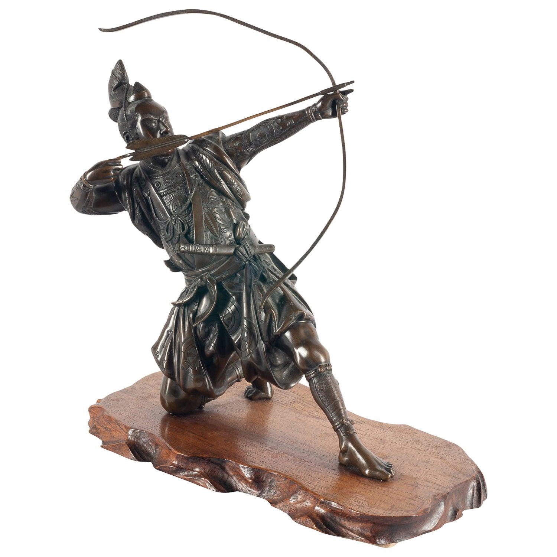 Japanese Meiji Period Bronze Samurai Warrior, circa 1890