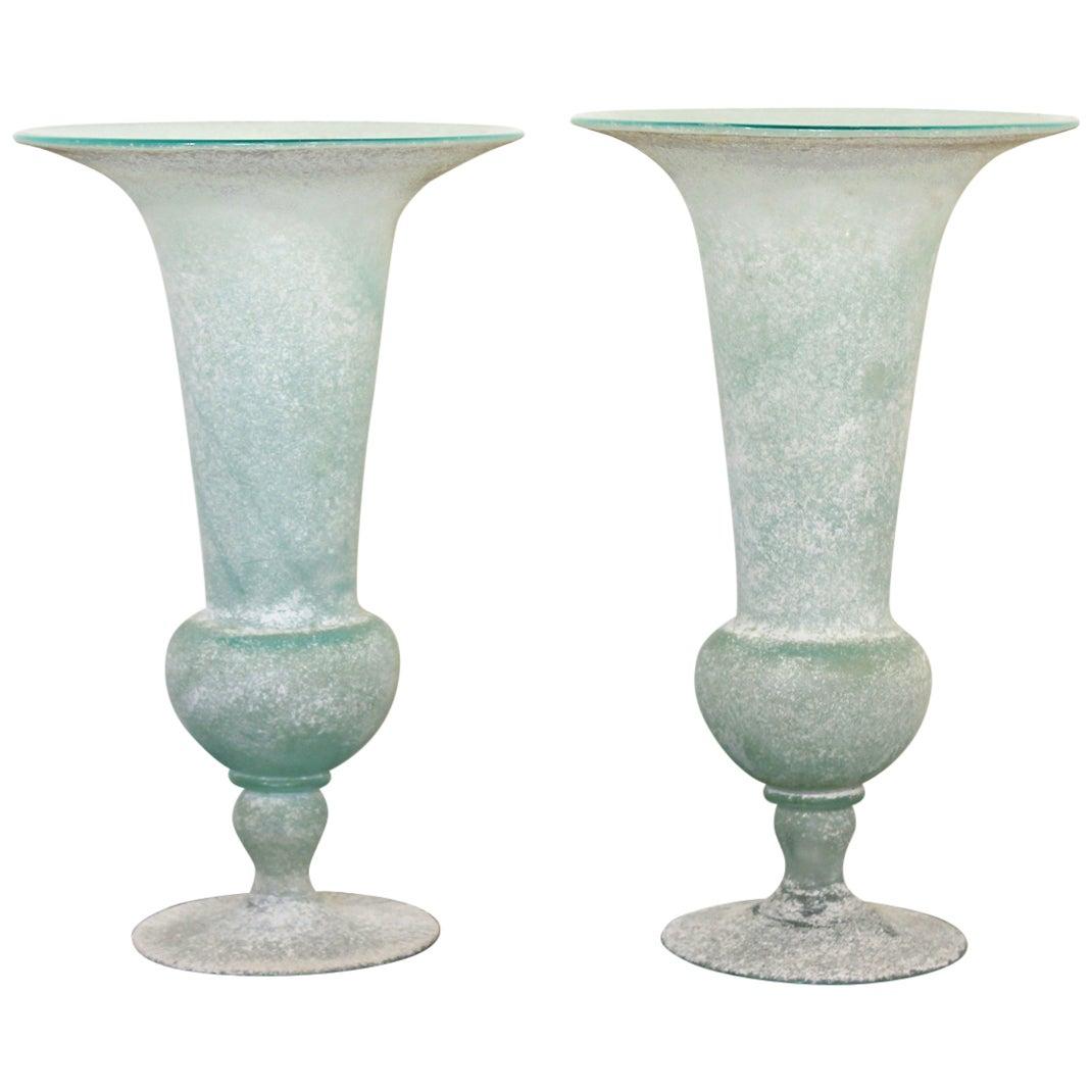 Mid-Century Modern Pair of Seguso Vetri D'Arte Glass Vases Vessels Italy Signed