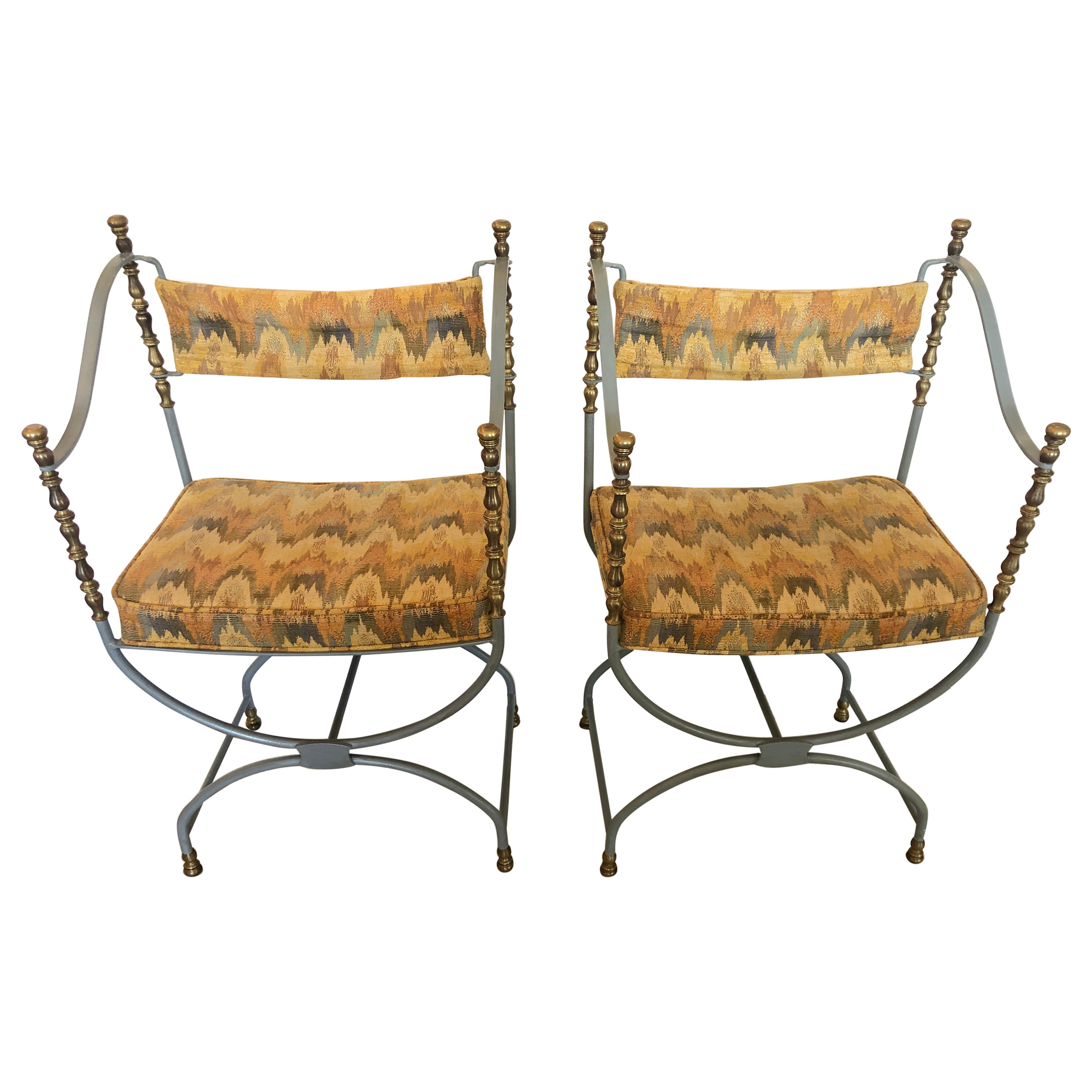 Superb Pair of Savonarola Style Grey Painted Iron and Brass Campaign Chairs