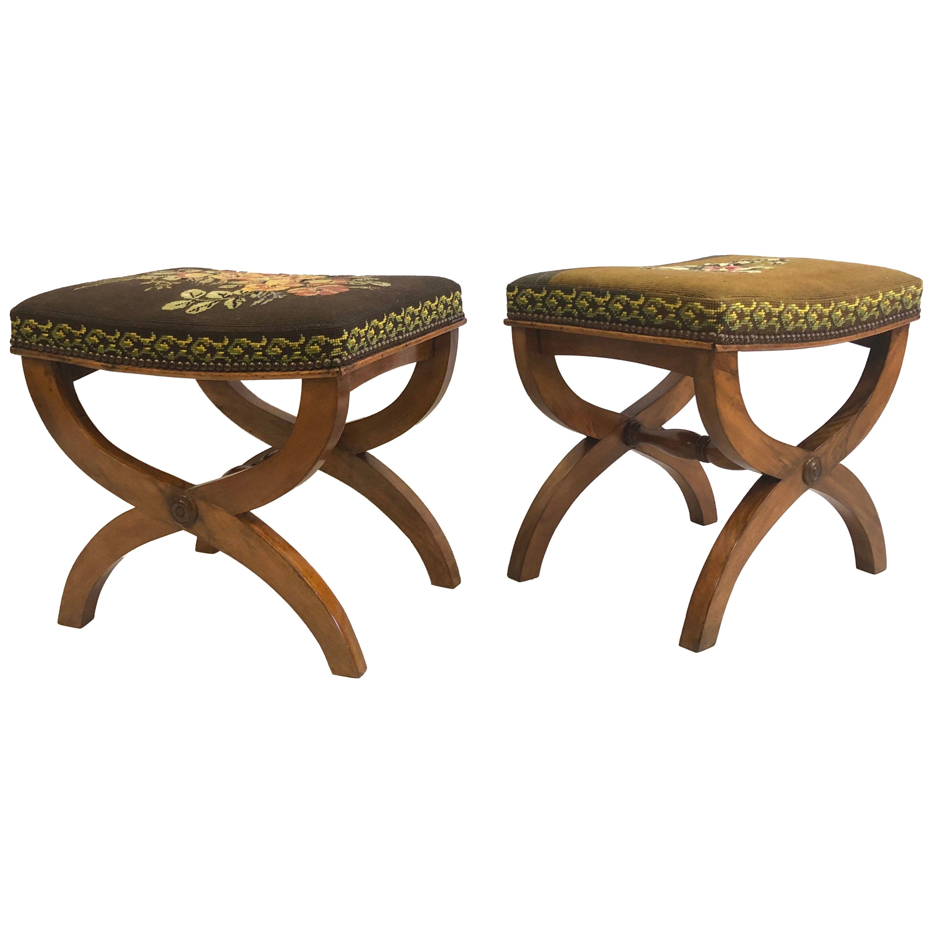Pair of French Modern Neoclassical Stools / Benches Attributed to Andre Arbus
