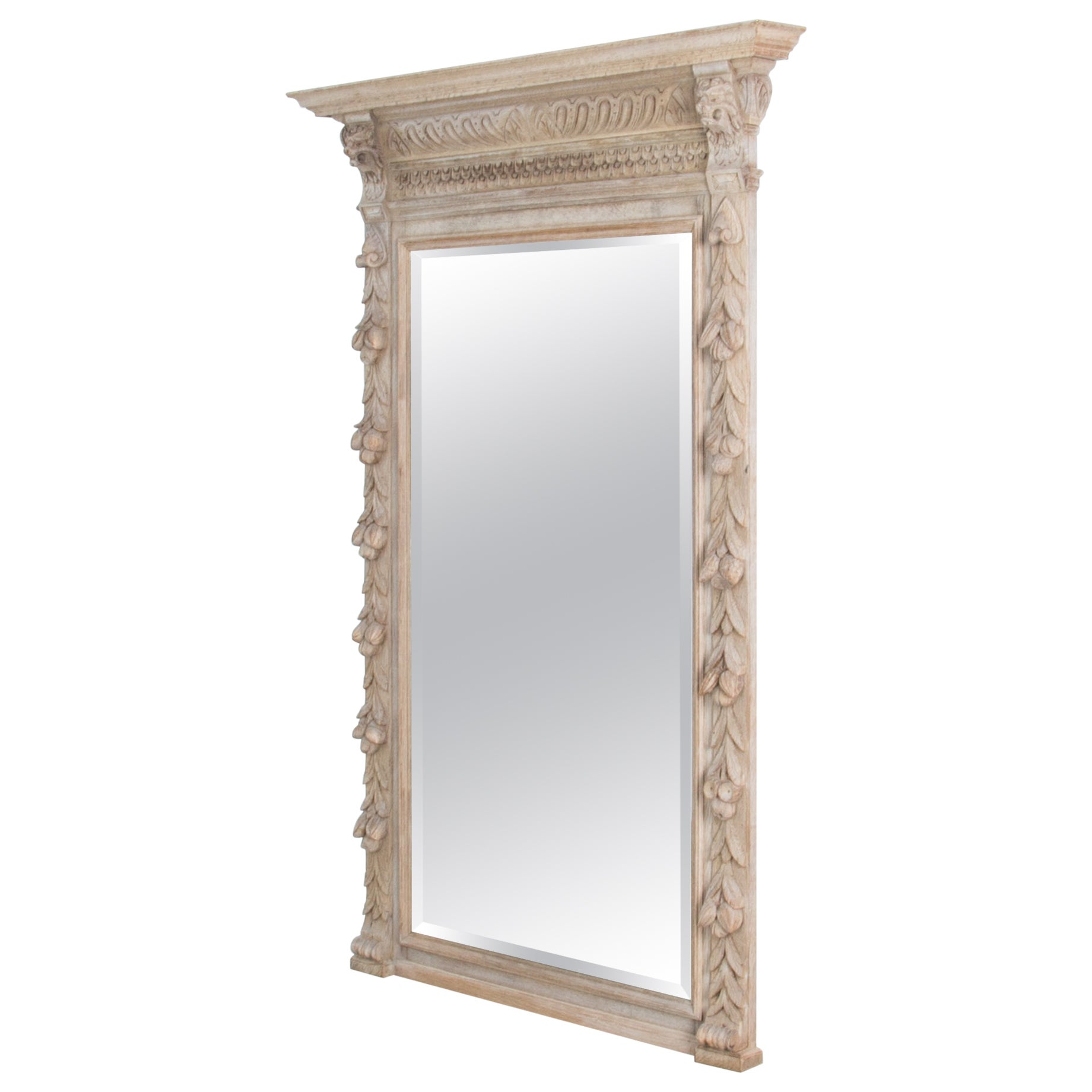 Antique Wall Mirror with Carved Wooden Frame