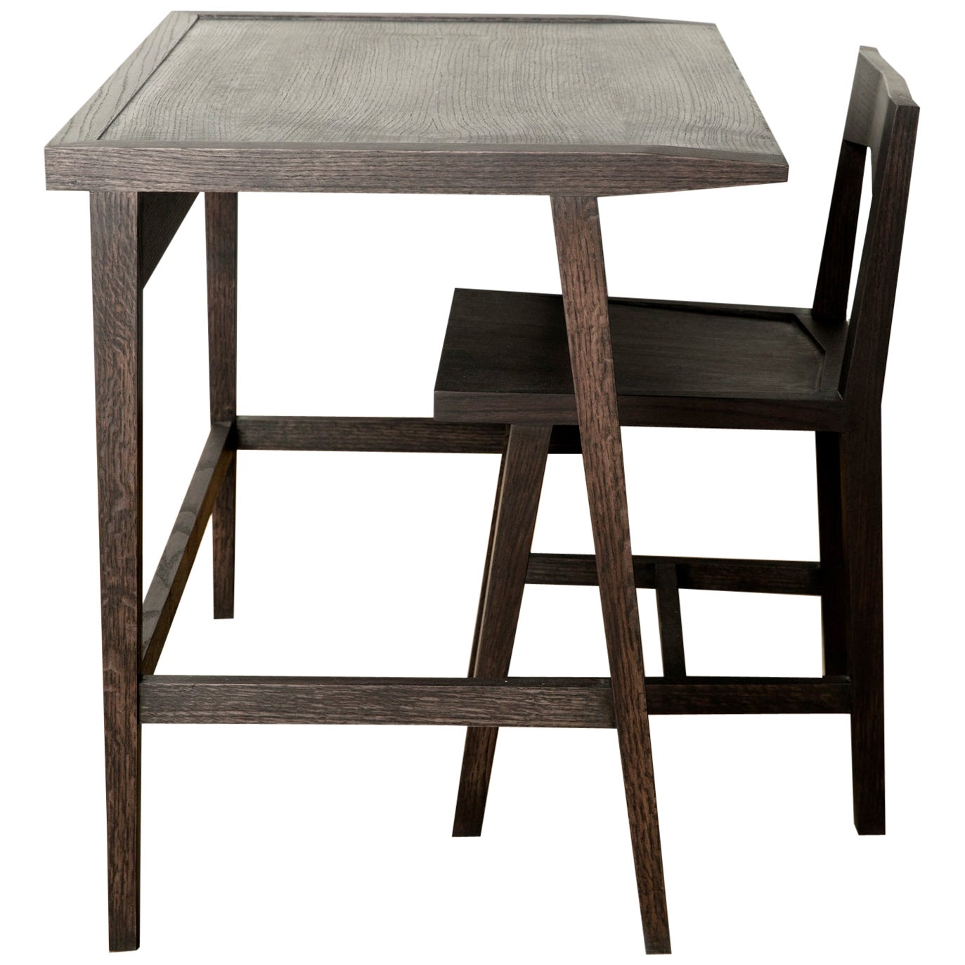 Writing or Computer Desk and Chair in Blackened Oakwood by Alabama Sawyer