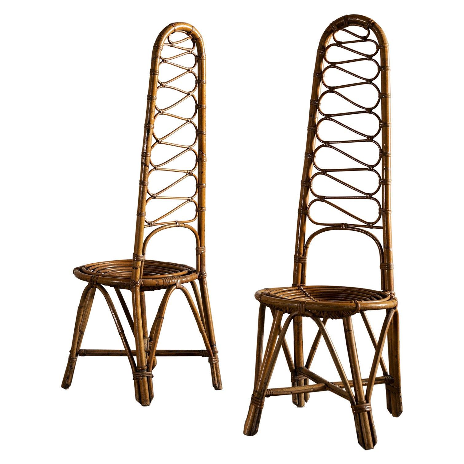 Pair of French Riviera Rattan and Bamboo Chairs, 1960s