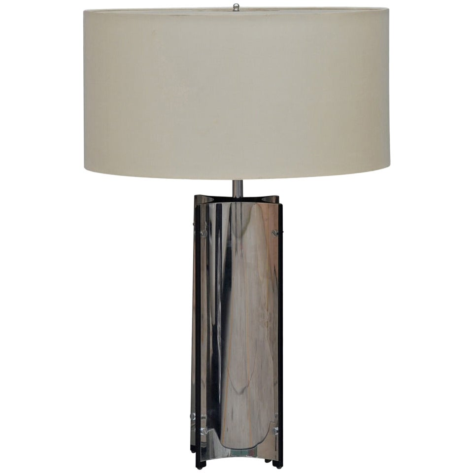 Chic Italian 1970s Chrome Lamp with Custom Drum Shade by Gaetano Sciolari