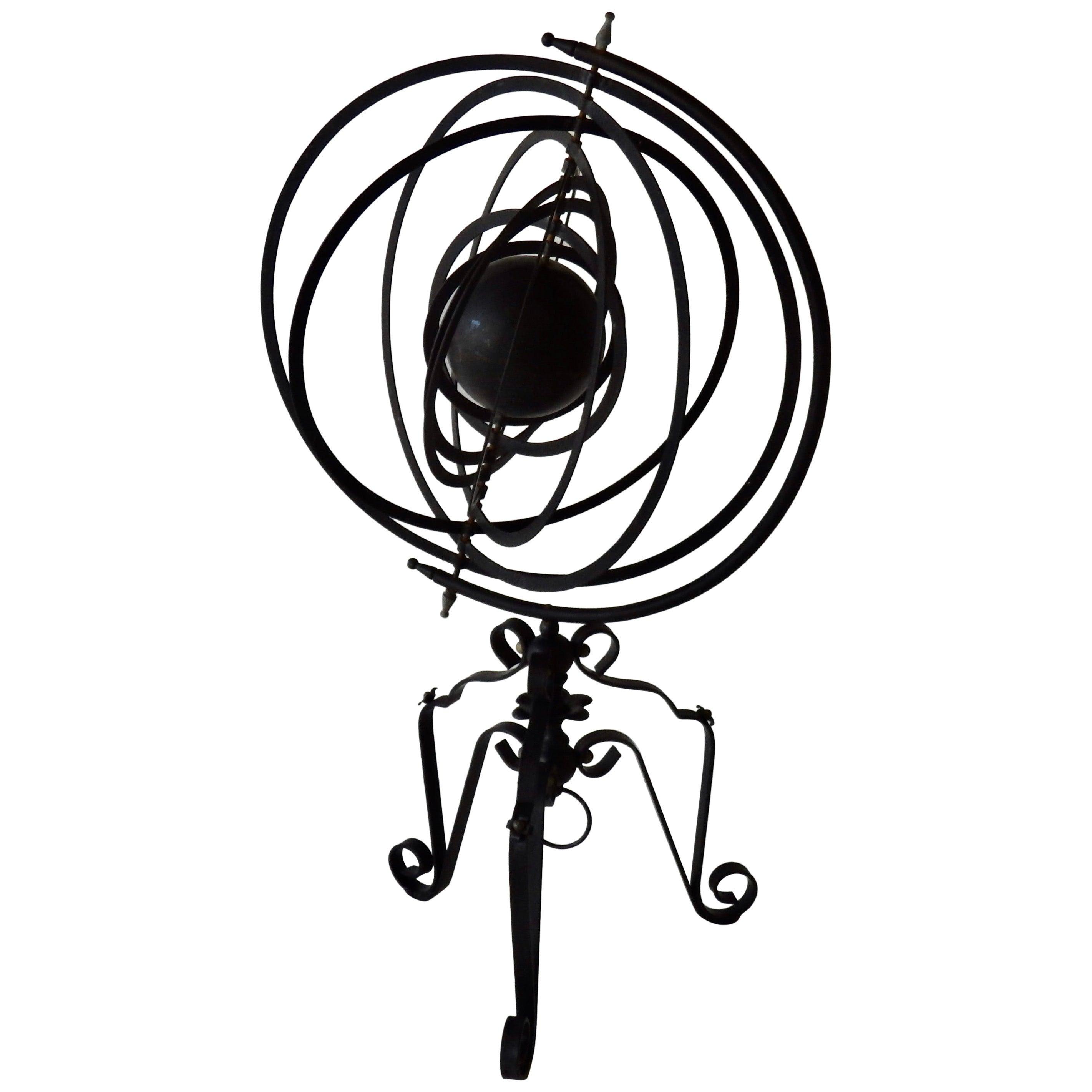 Wrought Iron Armillary Sphere Sculpture