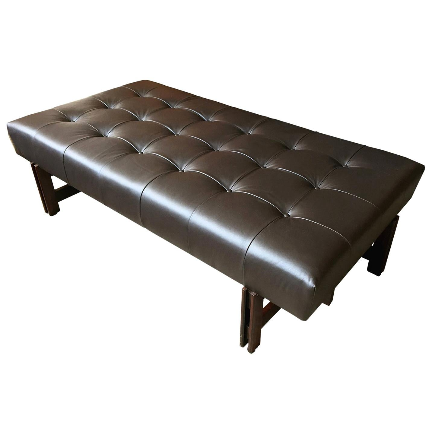1960s Leather and Rosewood Bench by Ico Parisi