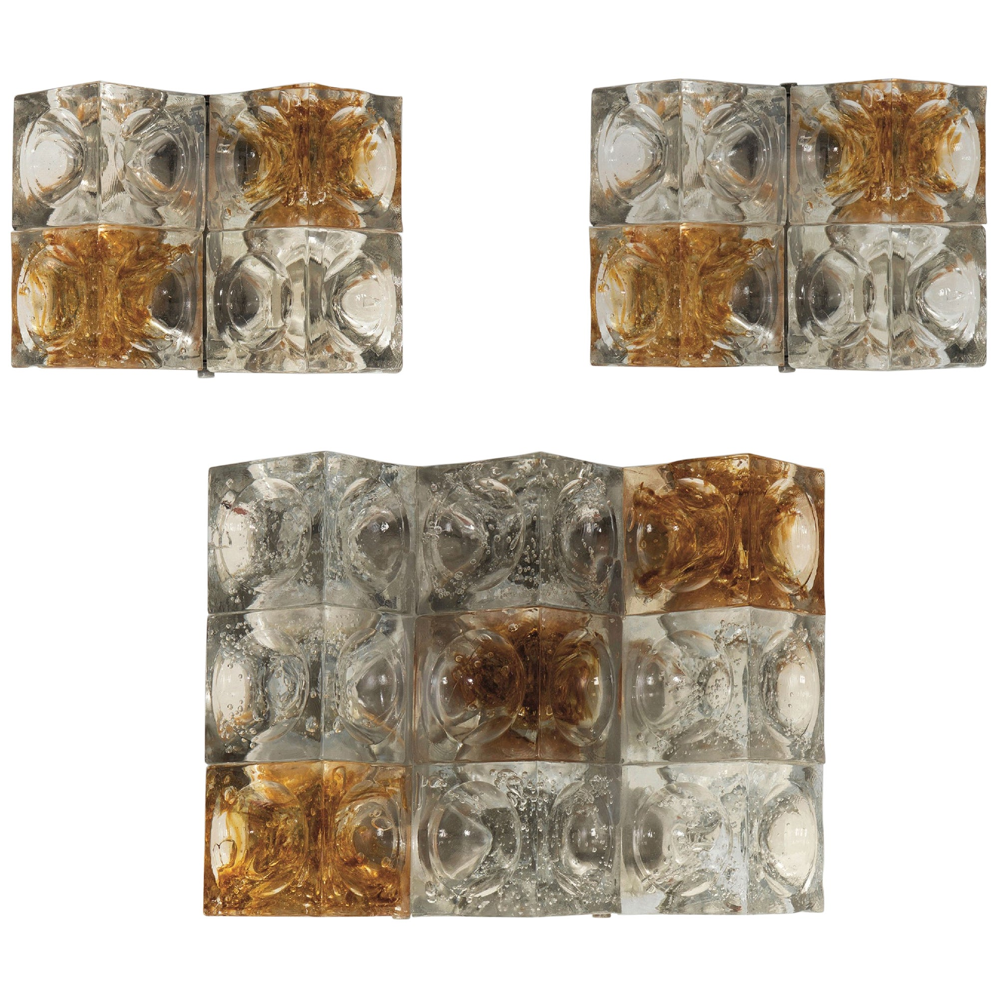 Albano Poli Set of Three Appliques in Glass for Poliarte, 1970