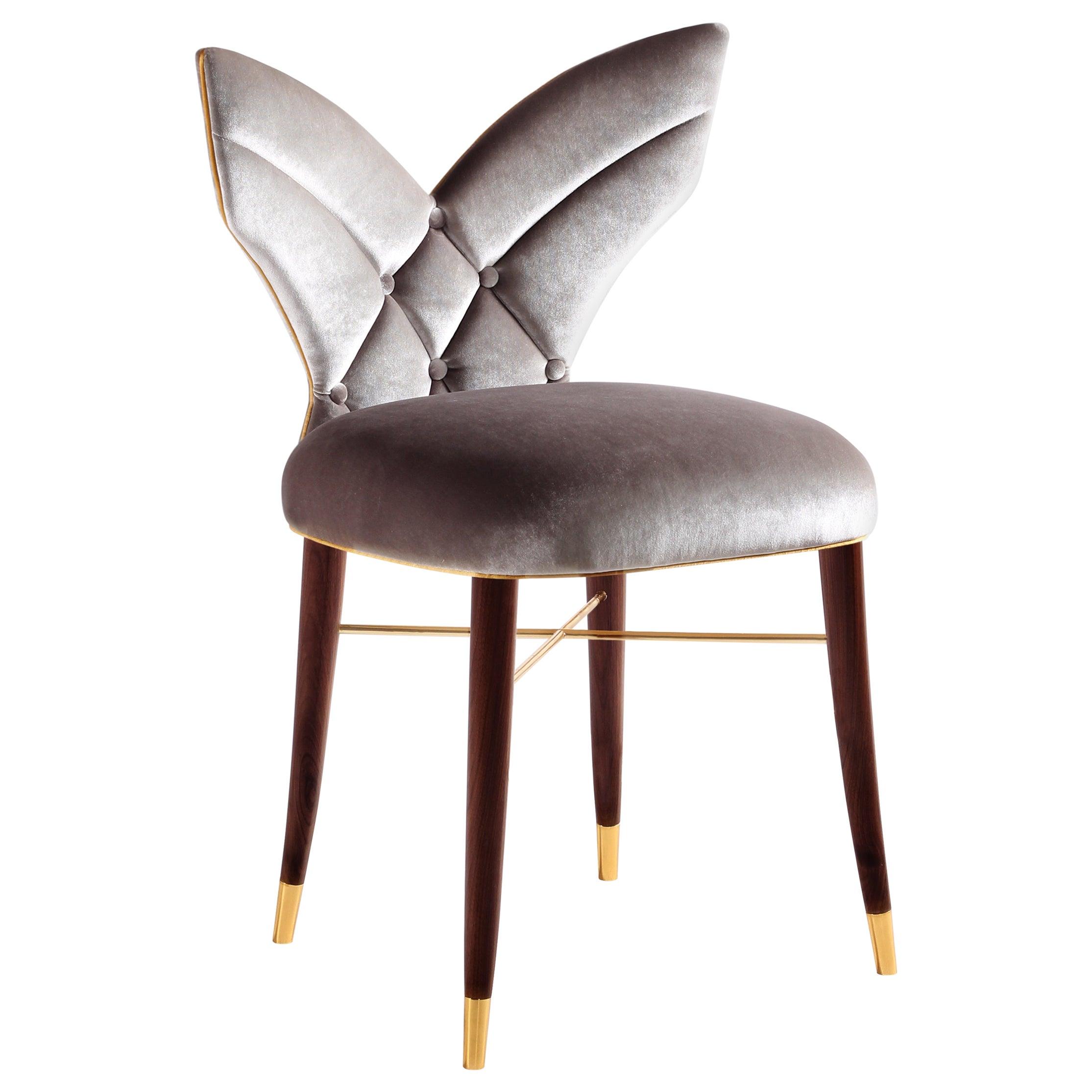 Mid-Century Modern Luna Dining Chair Cotton Velvet Walnut Wood
