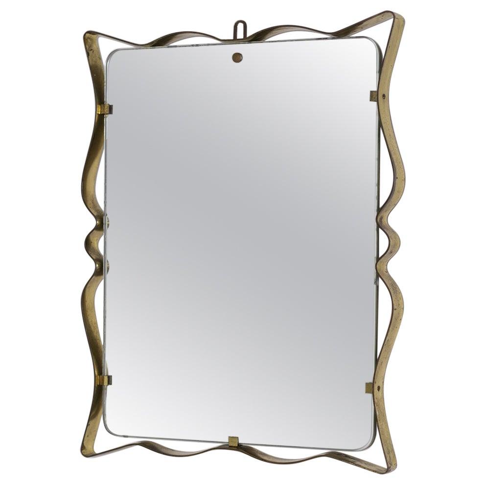 Italian Wall Mirror by Fontana Arte in Frame Brass and Glass, 1950