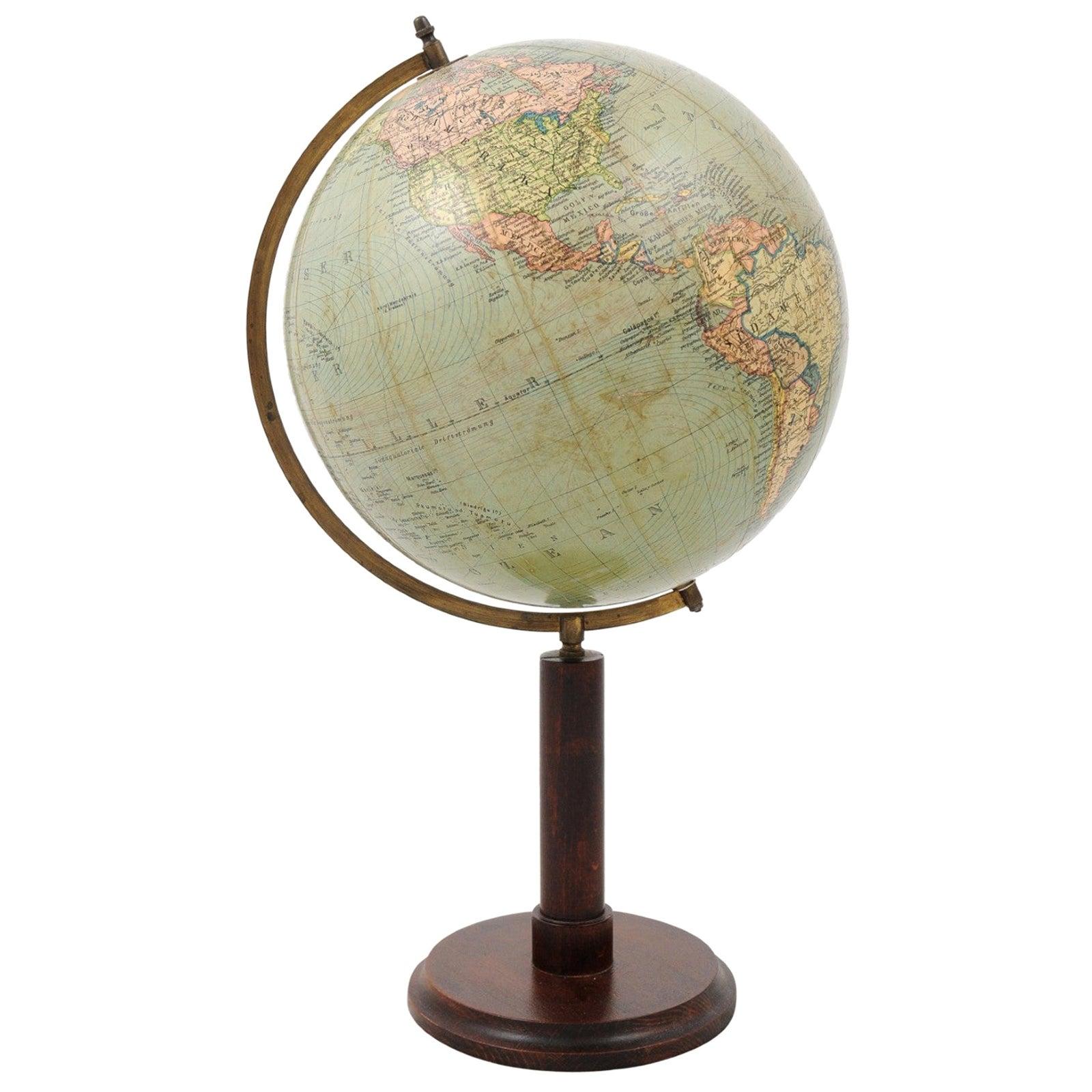German 1890s Columbus Volksglobus Terrestrial Globe with Circular Wooden Base