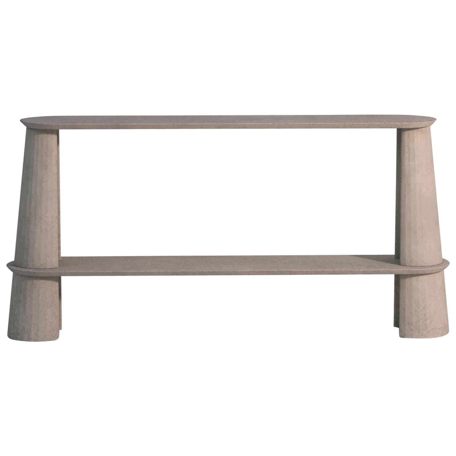 21st Century Studio Irvine Fusto Side Console Table Concrete Cement Powder Beige