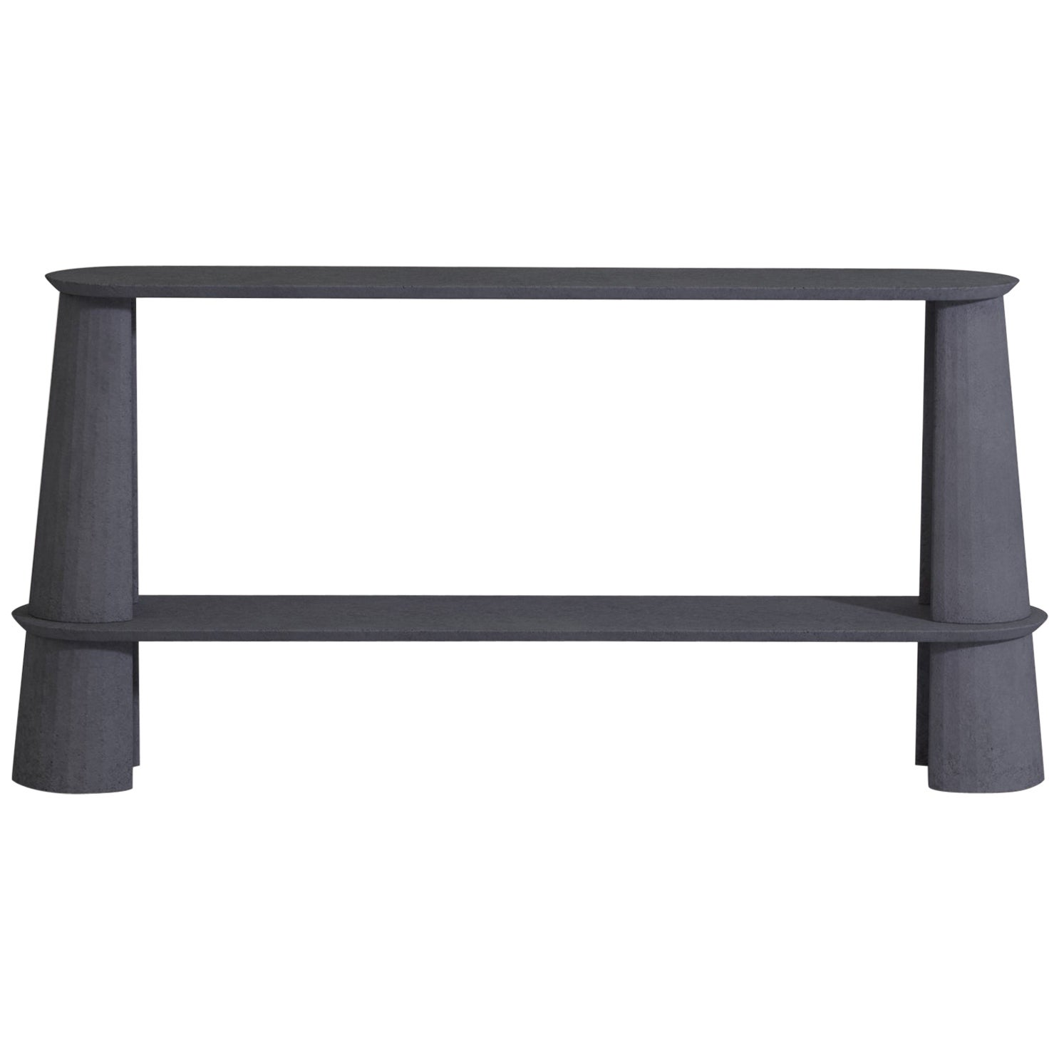 21st Century Studio Irvine Fusto Side Console Table Concrete Cement Ink Grey