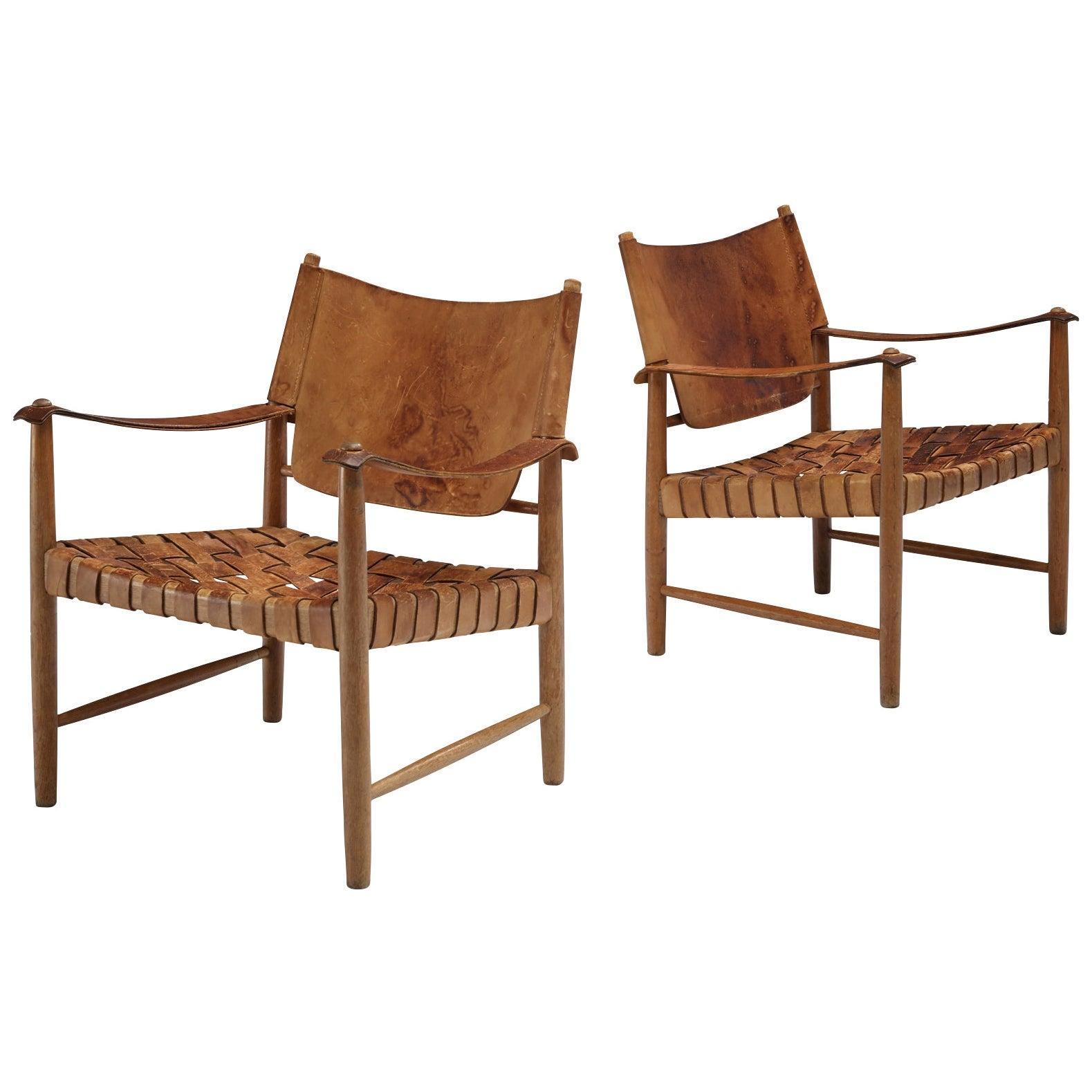 Danish Cognac Leather Safari Chairs, 1950s