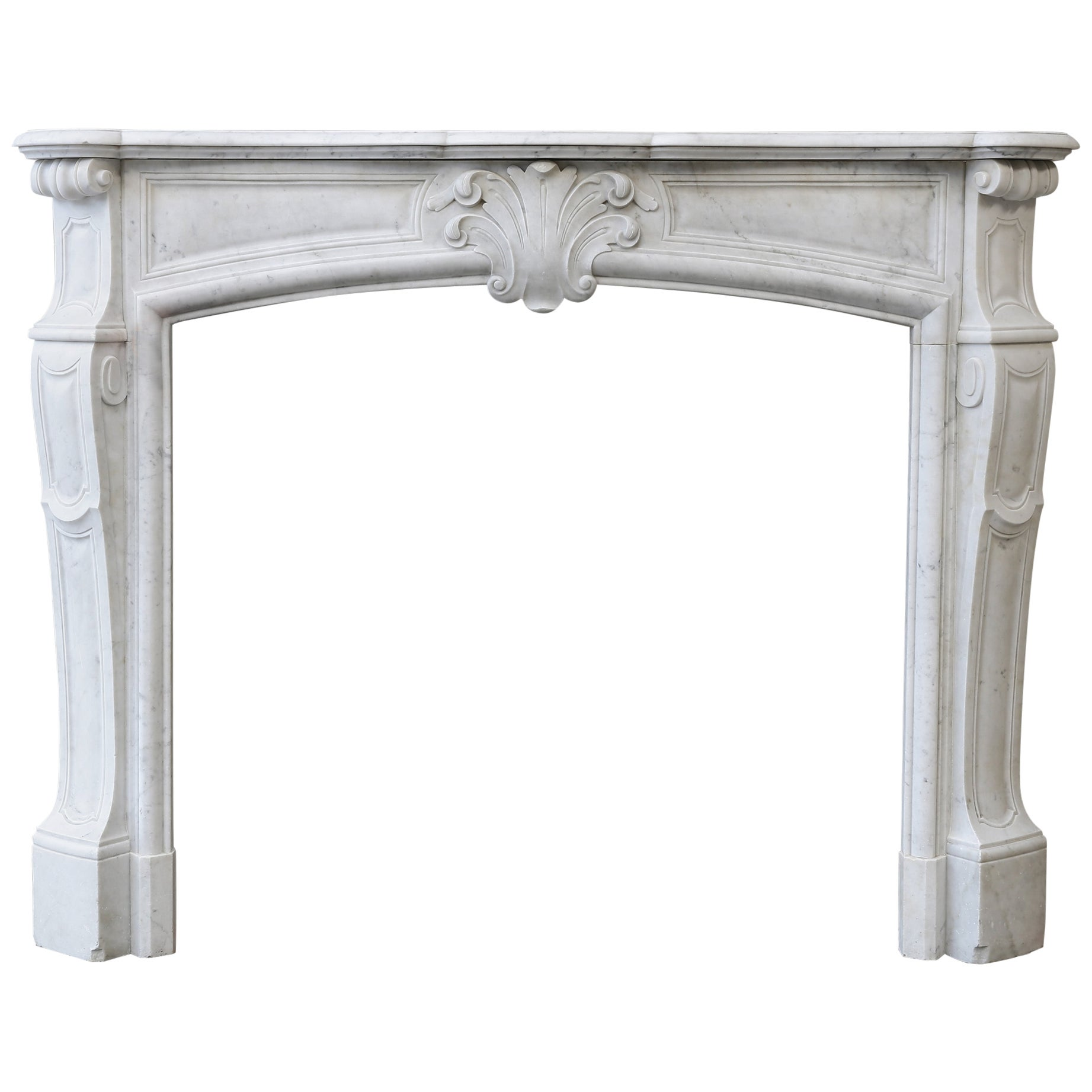 Louis XV Style Carrara Marble Mantel from the 19th Century