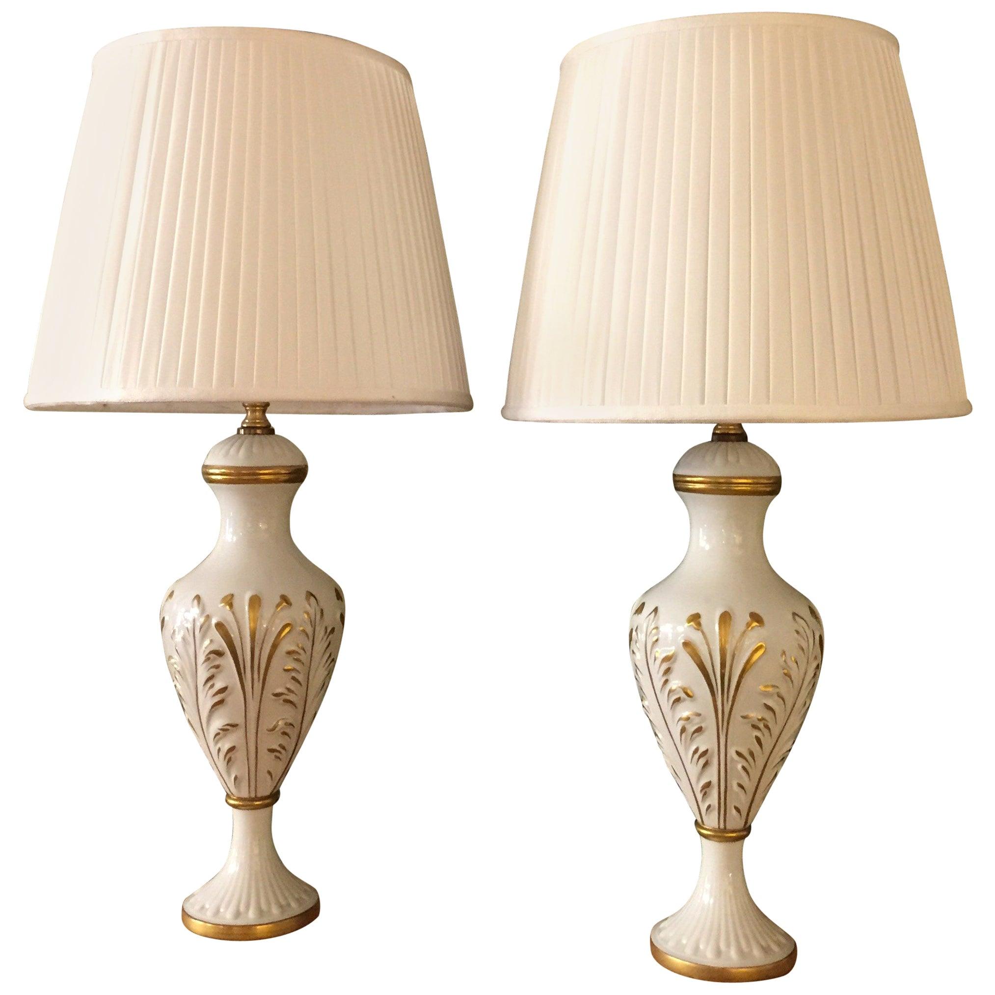 Mangani Firenze Pair of Italian White Table Lamps with Gold Foliate Motiv