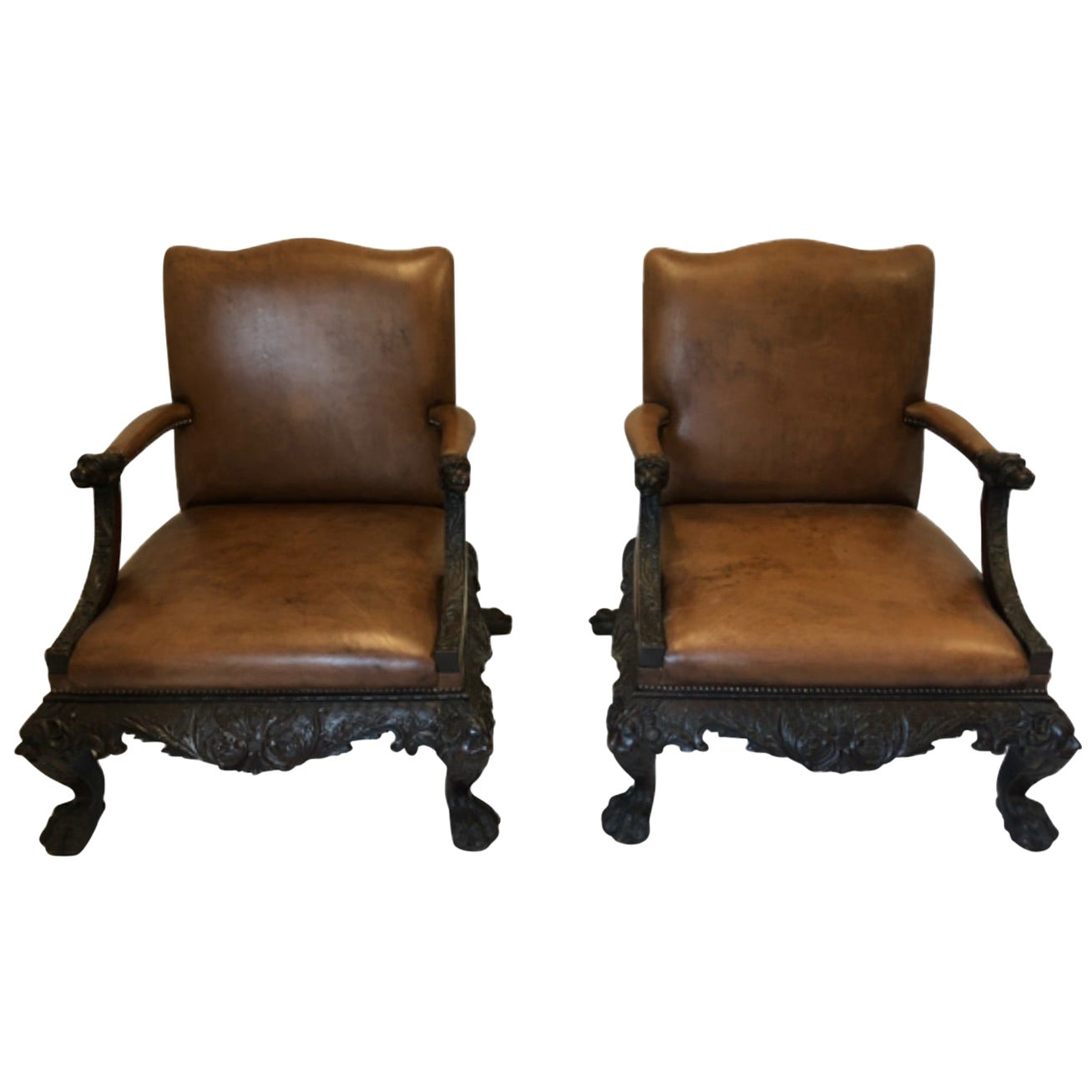 Fine Pair of 20th Century Mahogany Library Chairs