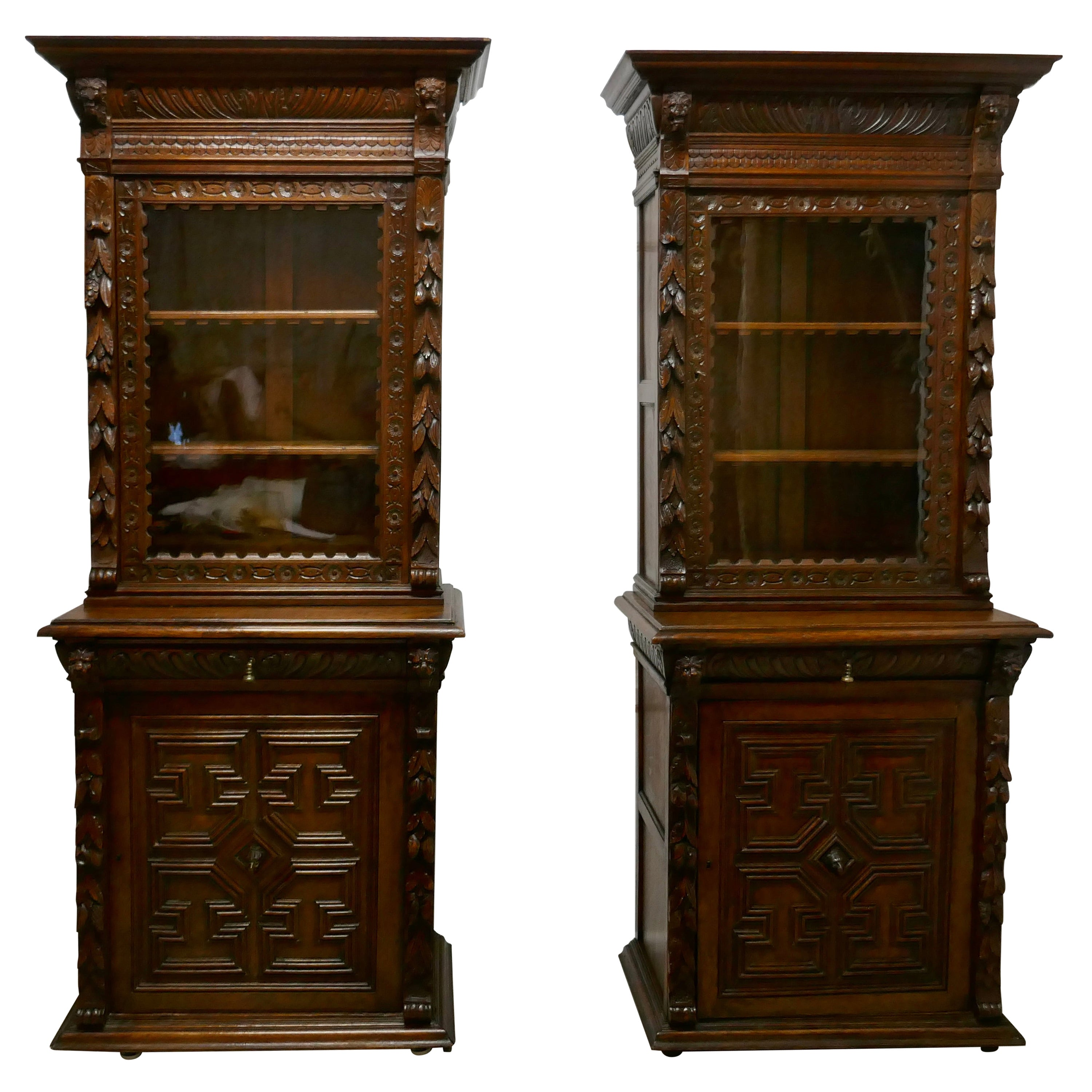 Pair of French Carved Gothic Oak Bookcases