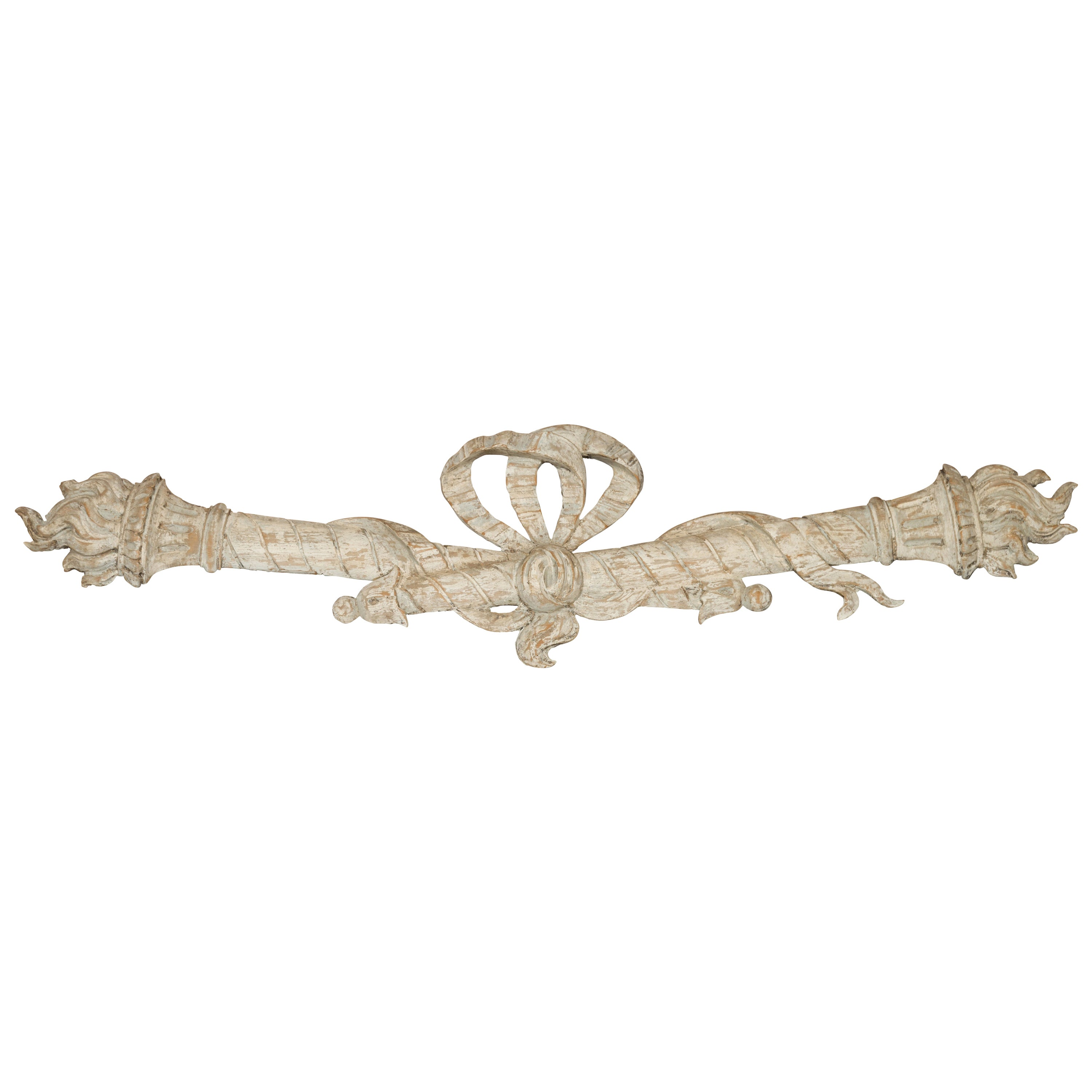 Italian 19th Century Carved Architectural Fragment with Ribbon-Tied Torches