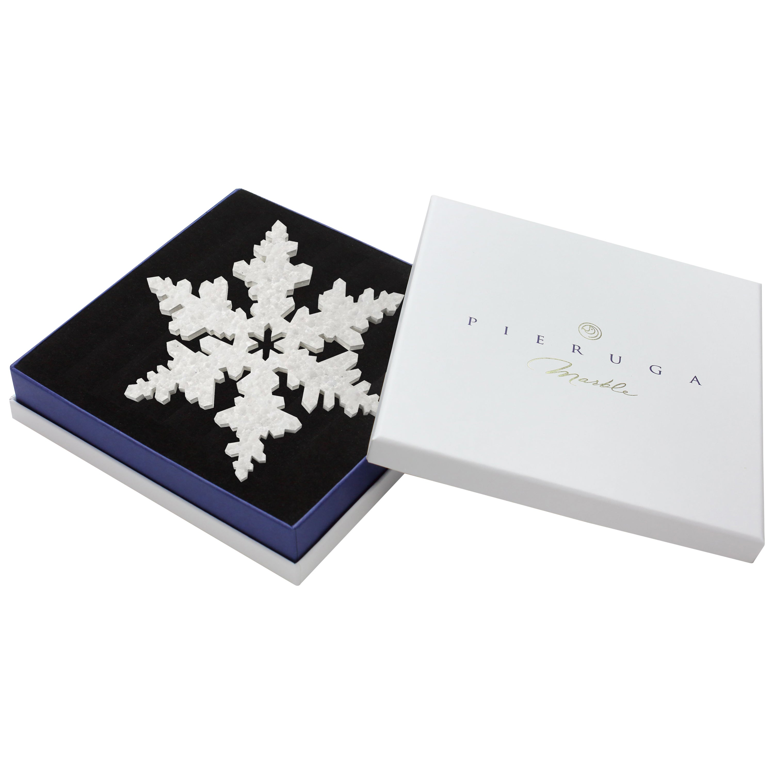 Snowflake Crystal Coaster or Christmas Tree Decoration in Marble Made in Italy