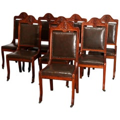 Antique Set of 8 Figural R.J. Horner Carved Oak Dining Chairs, C 1900