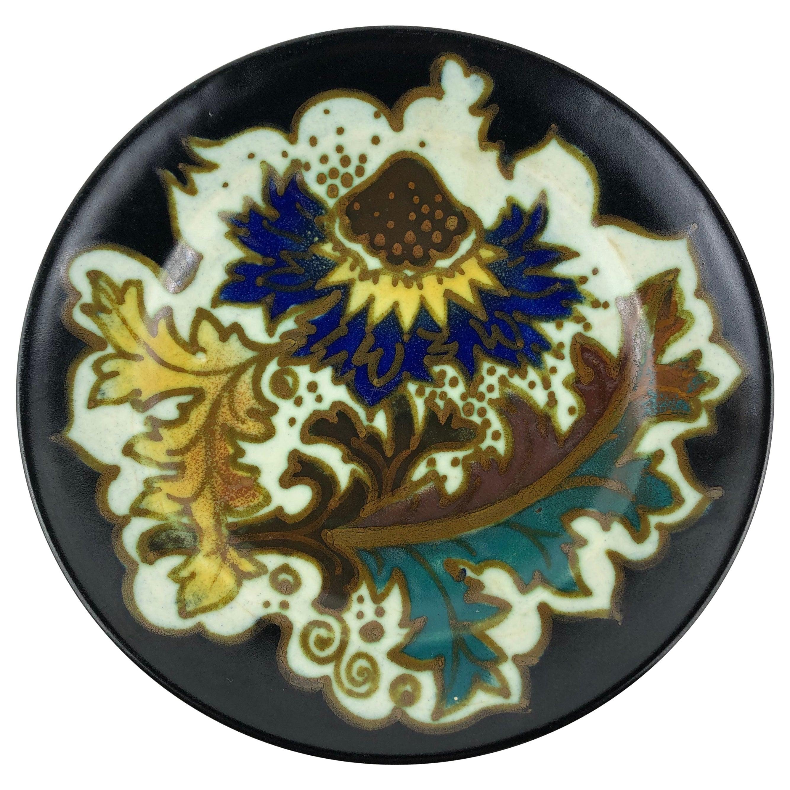 Gouda Pottery Art Nouveau Decorative Plate or Dish, Holland