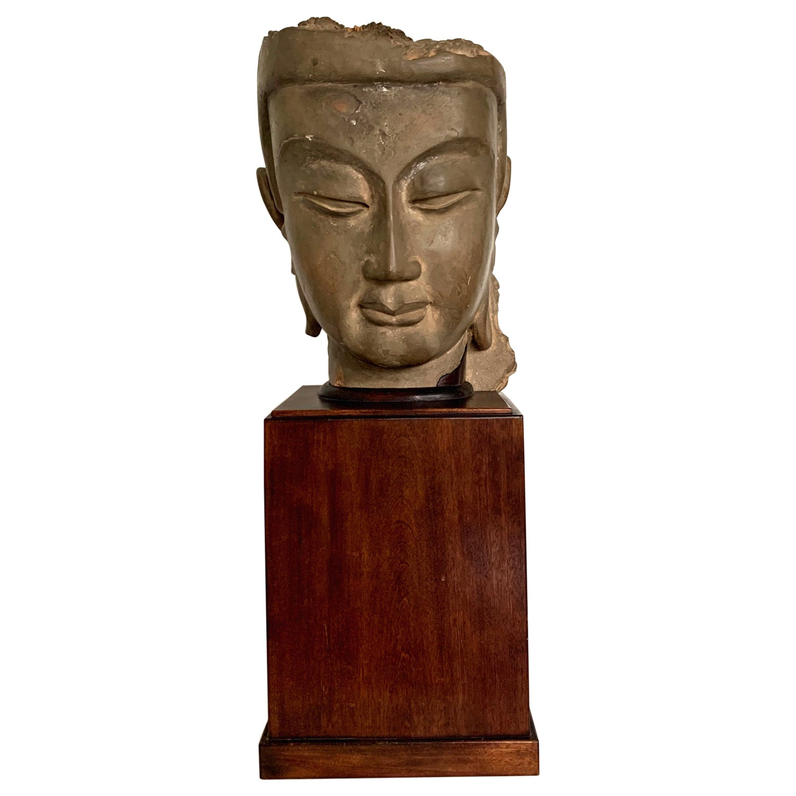Fine Chinese Stucco Head of Bodhisattva Southern Dynasties