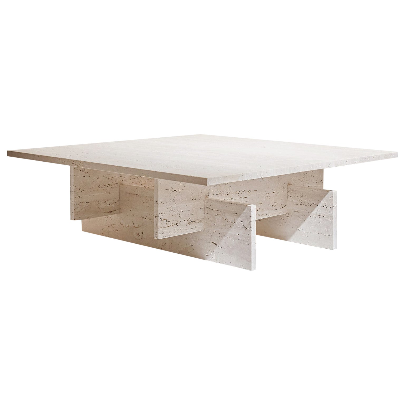 """Marbelous Fit Table"" Minimalist Coffee Table in Travertine Marble"