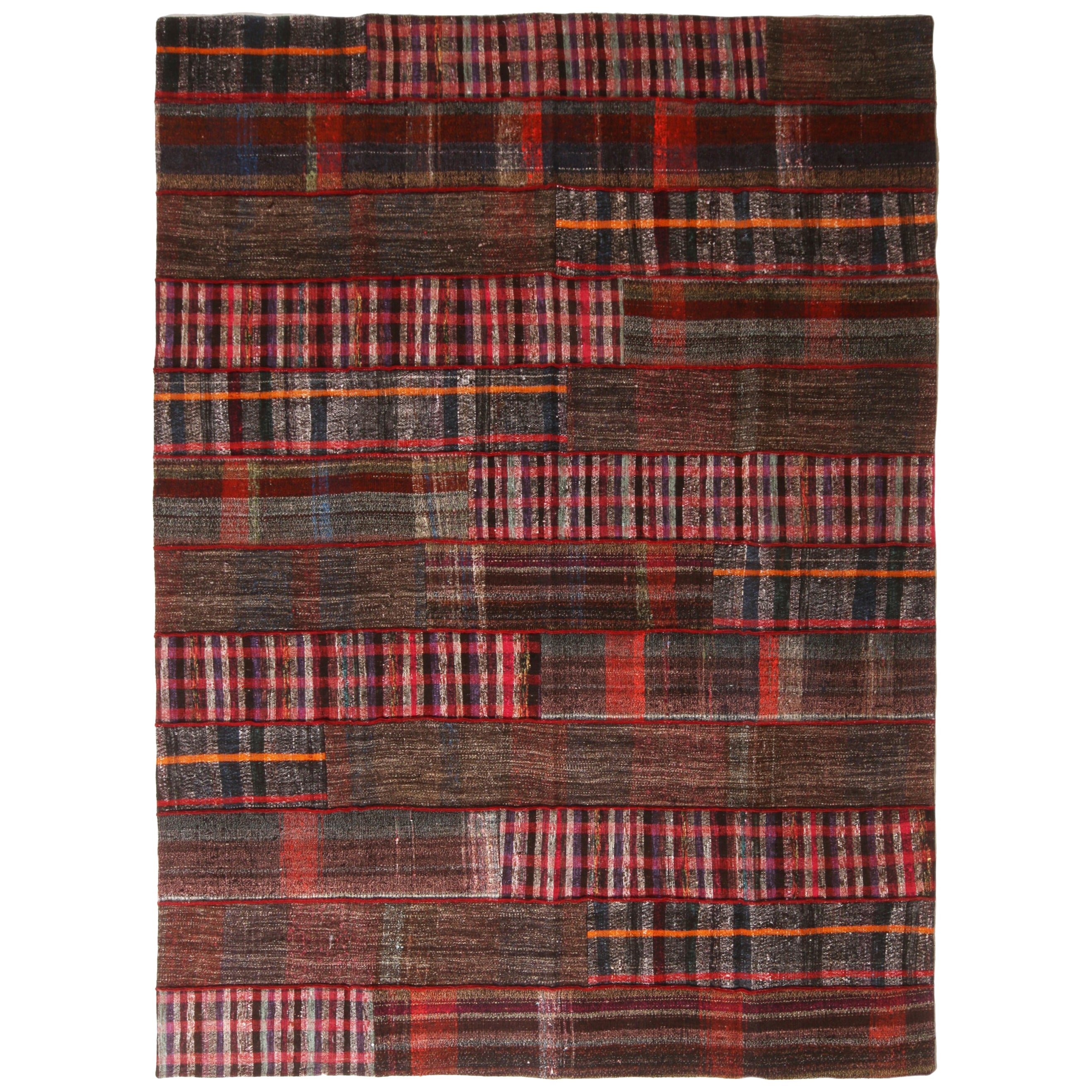 Rug & Kilim's Contemporary Red and Multi-Color Wool Kilim Rug