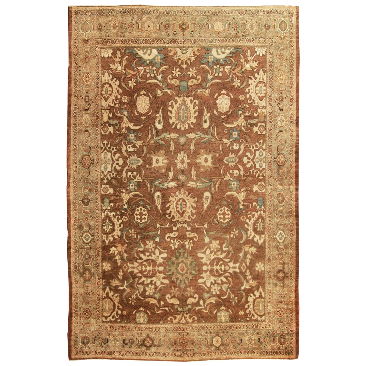 Antique Mahal Traditional Blue and Beige Wool Persian Rug