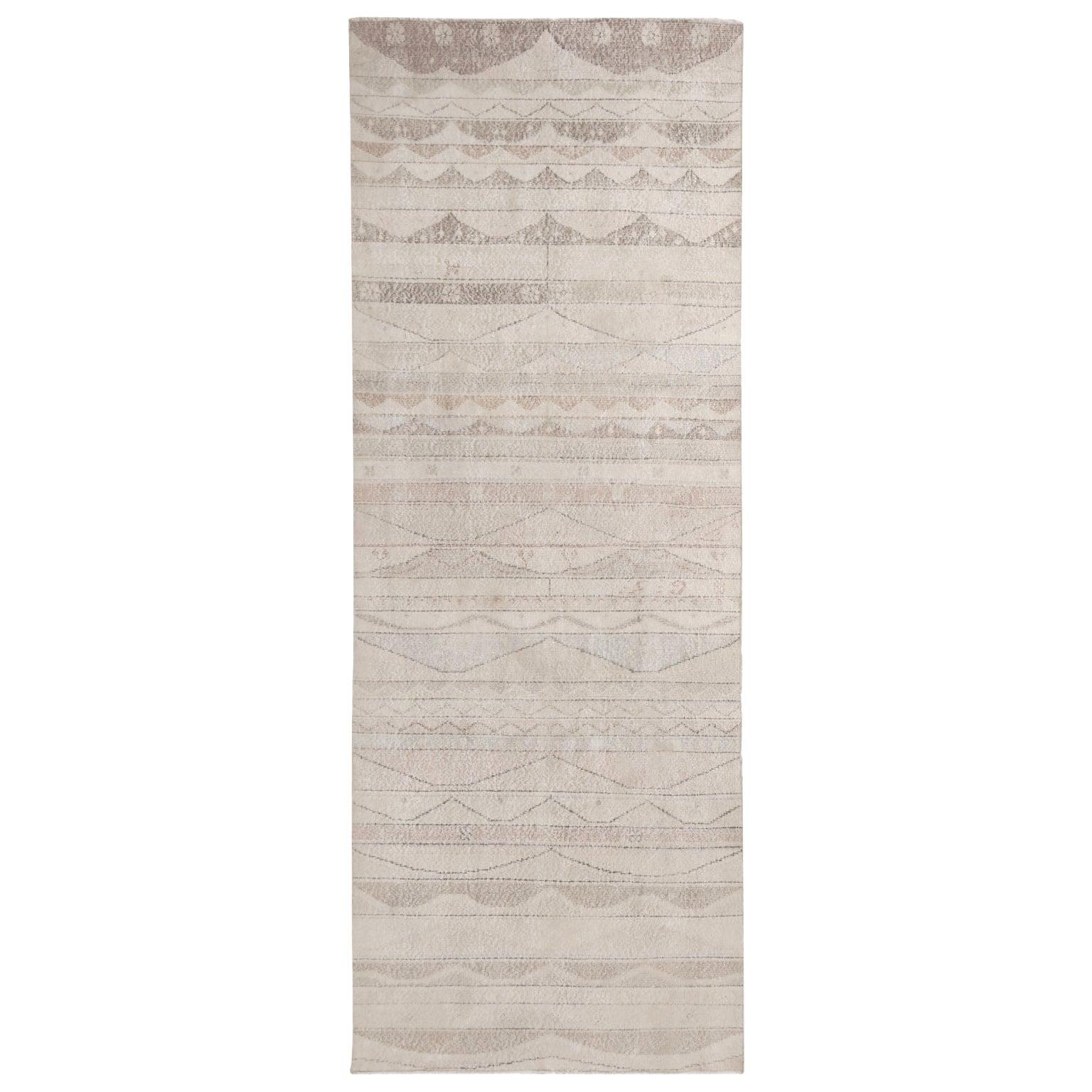 Vintage Geometric Beige and Pastel Wool Rug