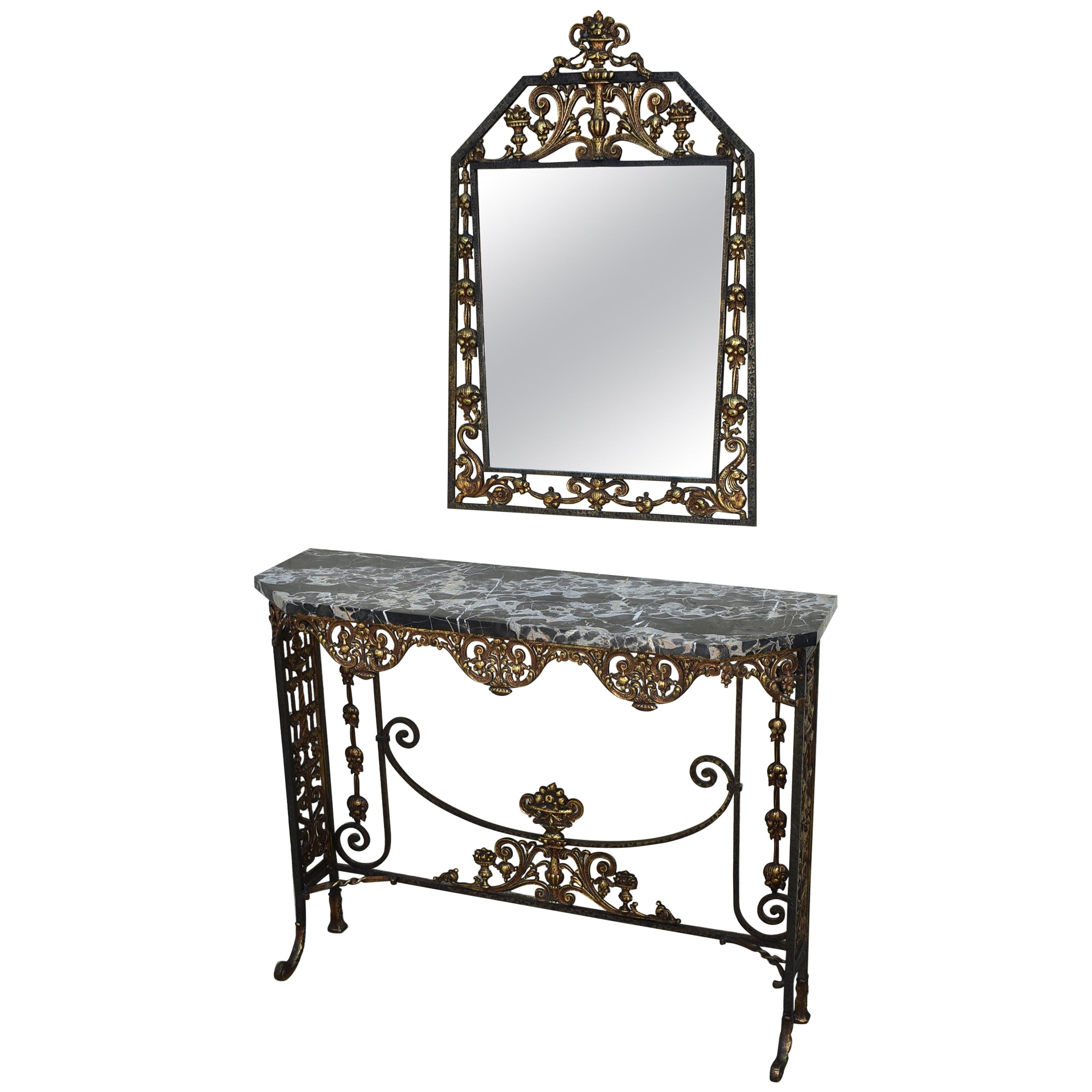 Iron and Bronze Hammered Console Entry Marble-Top Table with Mirror
