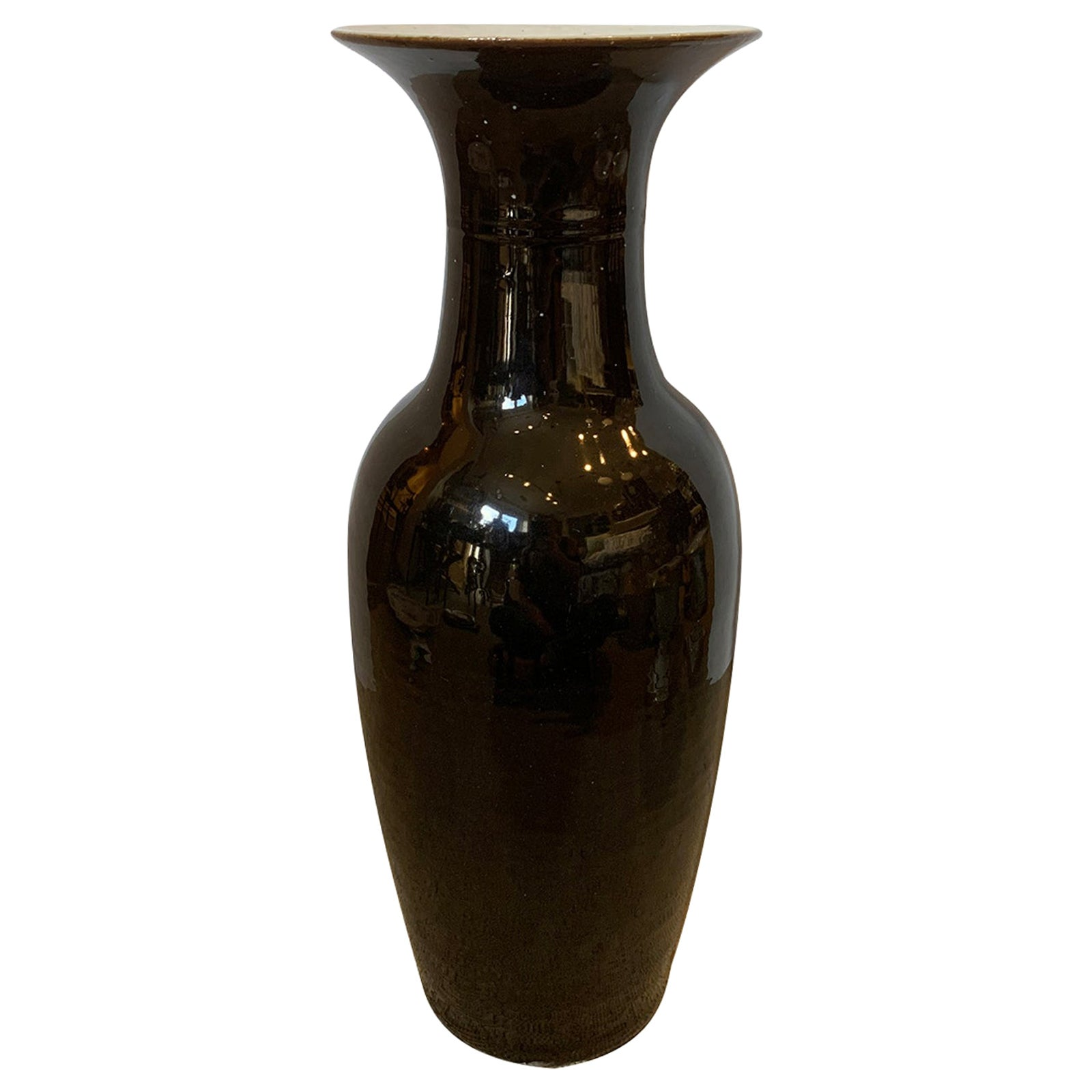 19th Century Chinese Mirror Black Porcelain Vase, Unmarked