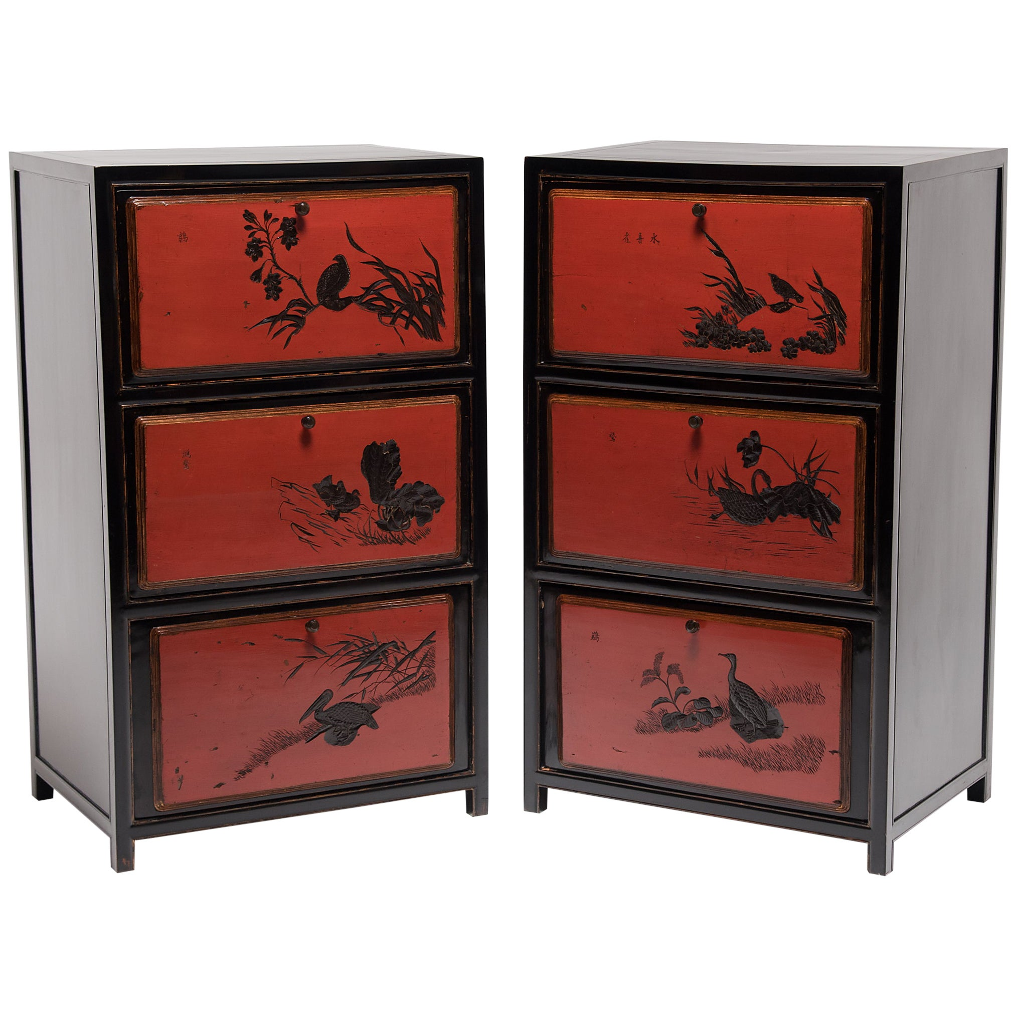 Pair of Chinese Red Lacquer Cabinets with Poetic Pairings, circa 1900