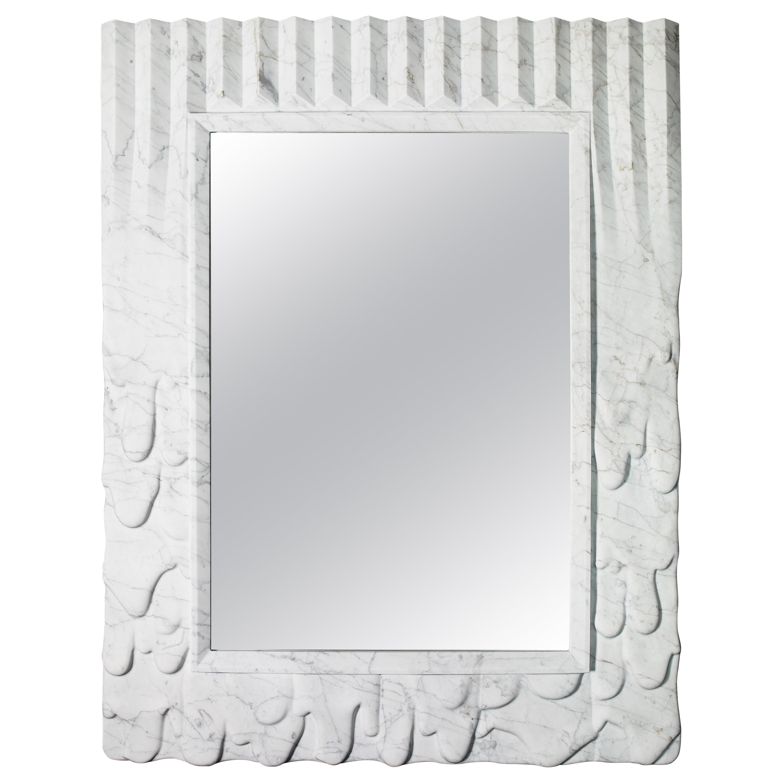 Contemporary Atelier Terrai Italian White Carrara Marble Art Deco Design Mirror