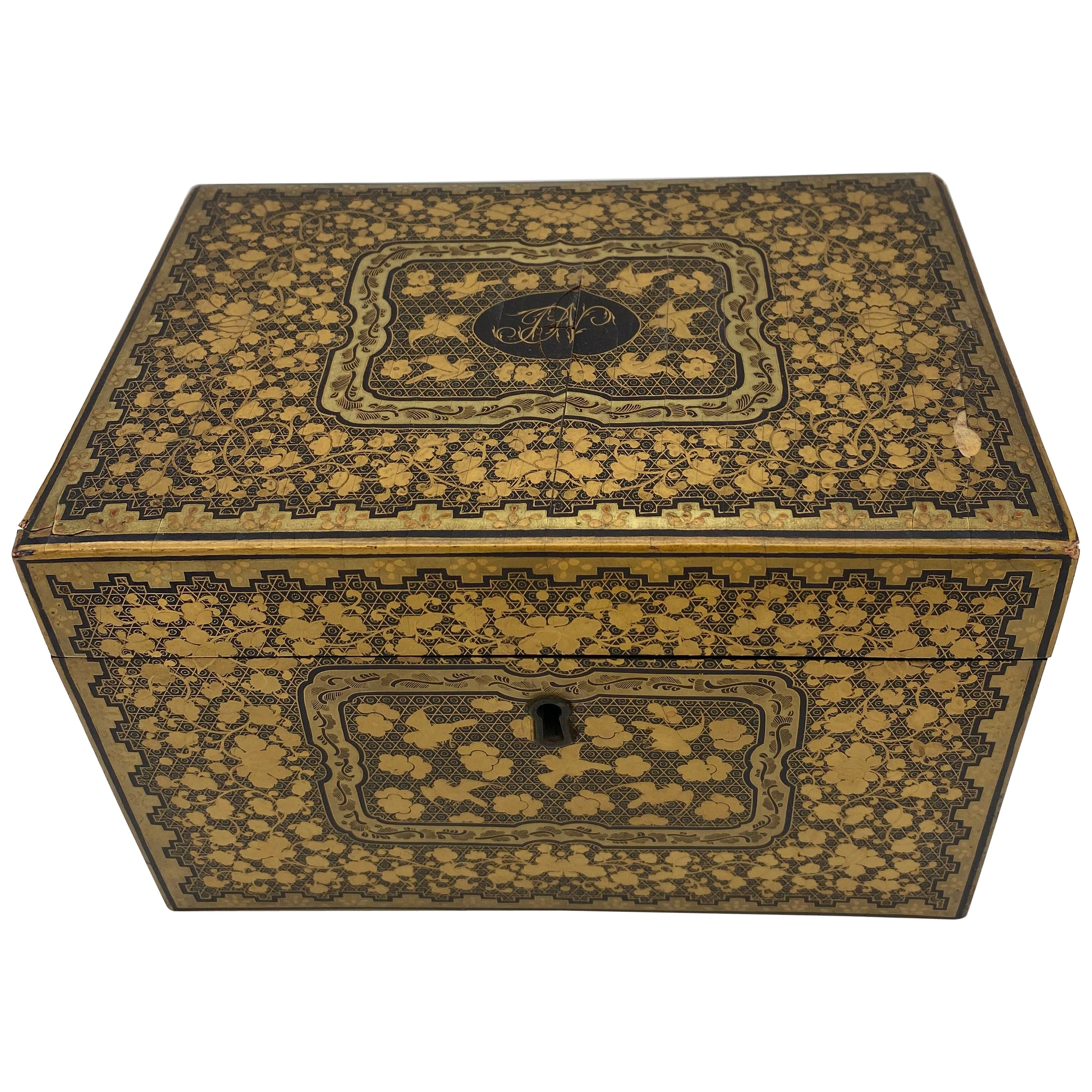 19th Century Golden Black Lacquer Chinese Tea Caddy