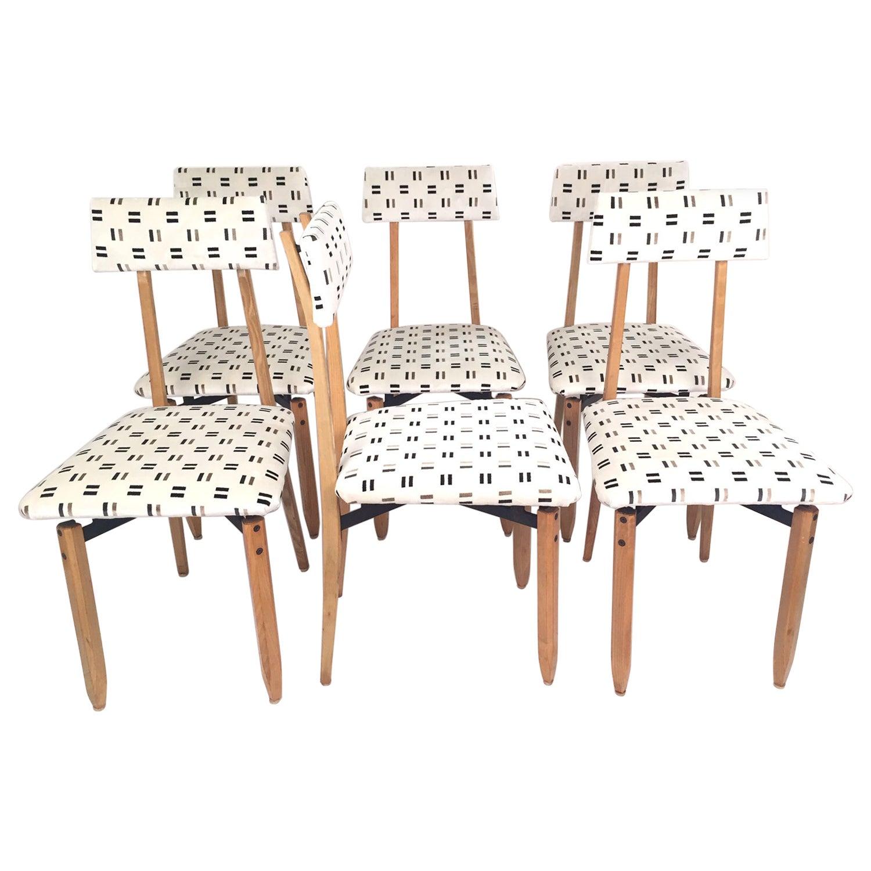 Roberto Aloi Italian Mid-Century Set of Six Dining Chairs, 1950