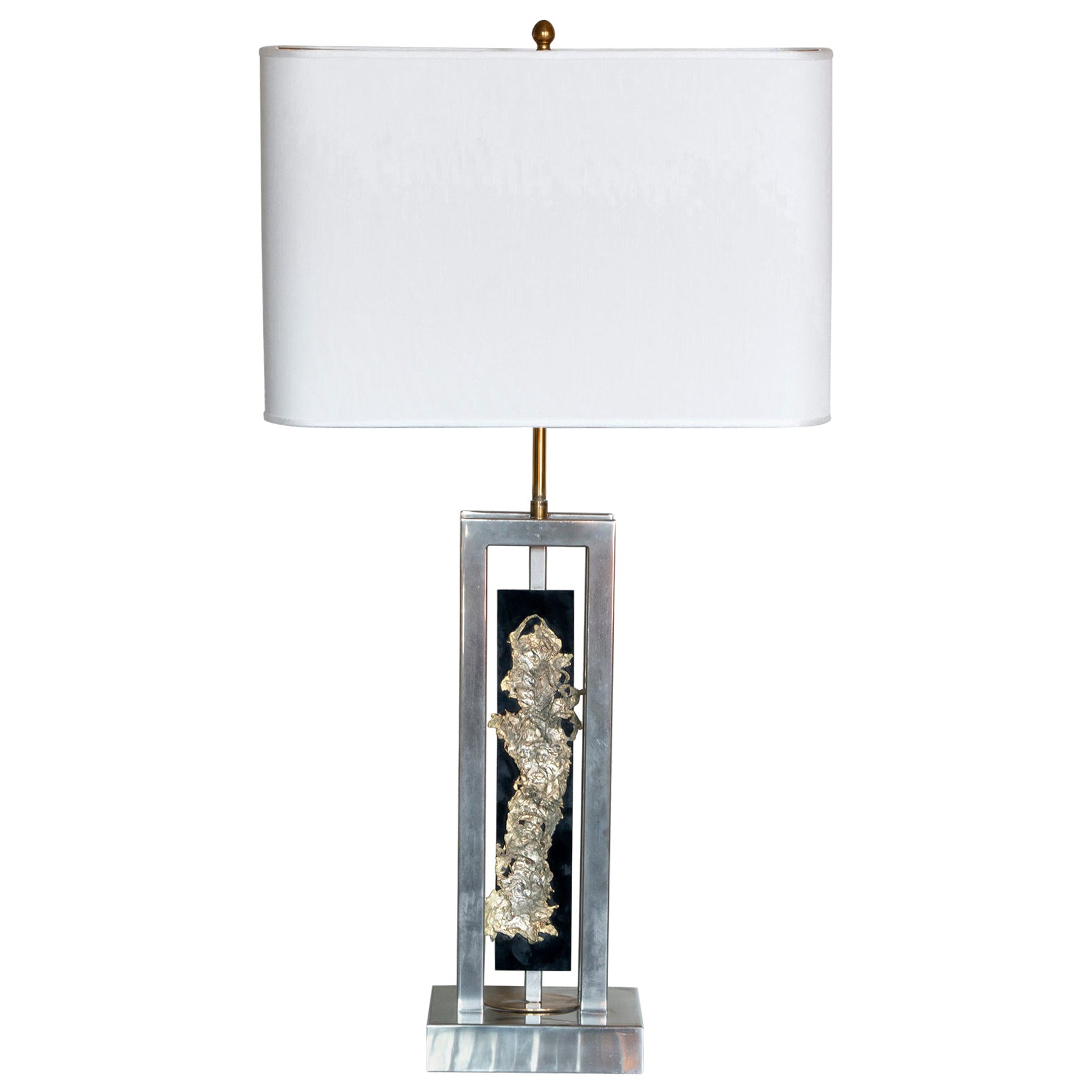 1970s French Philippe Cheverny Table Lamp, Chrome, Plexiglass and Brass Details