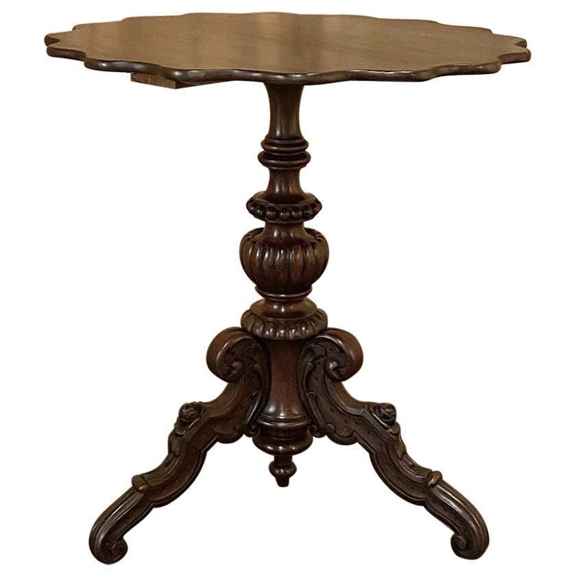 19th Century French Napoleon III Walnut Pie Crust Center Table
