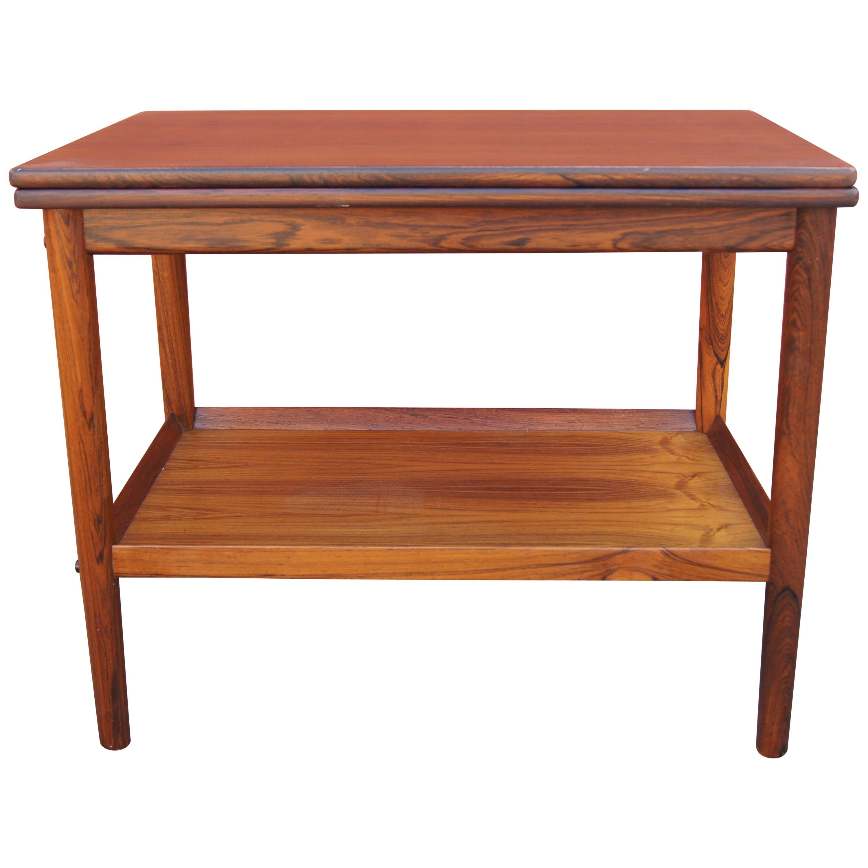 Vintage Danish Rosewood Flip-top Tea Table