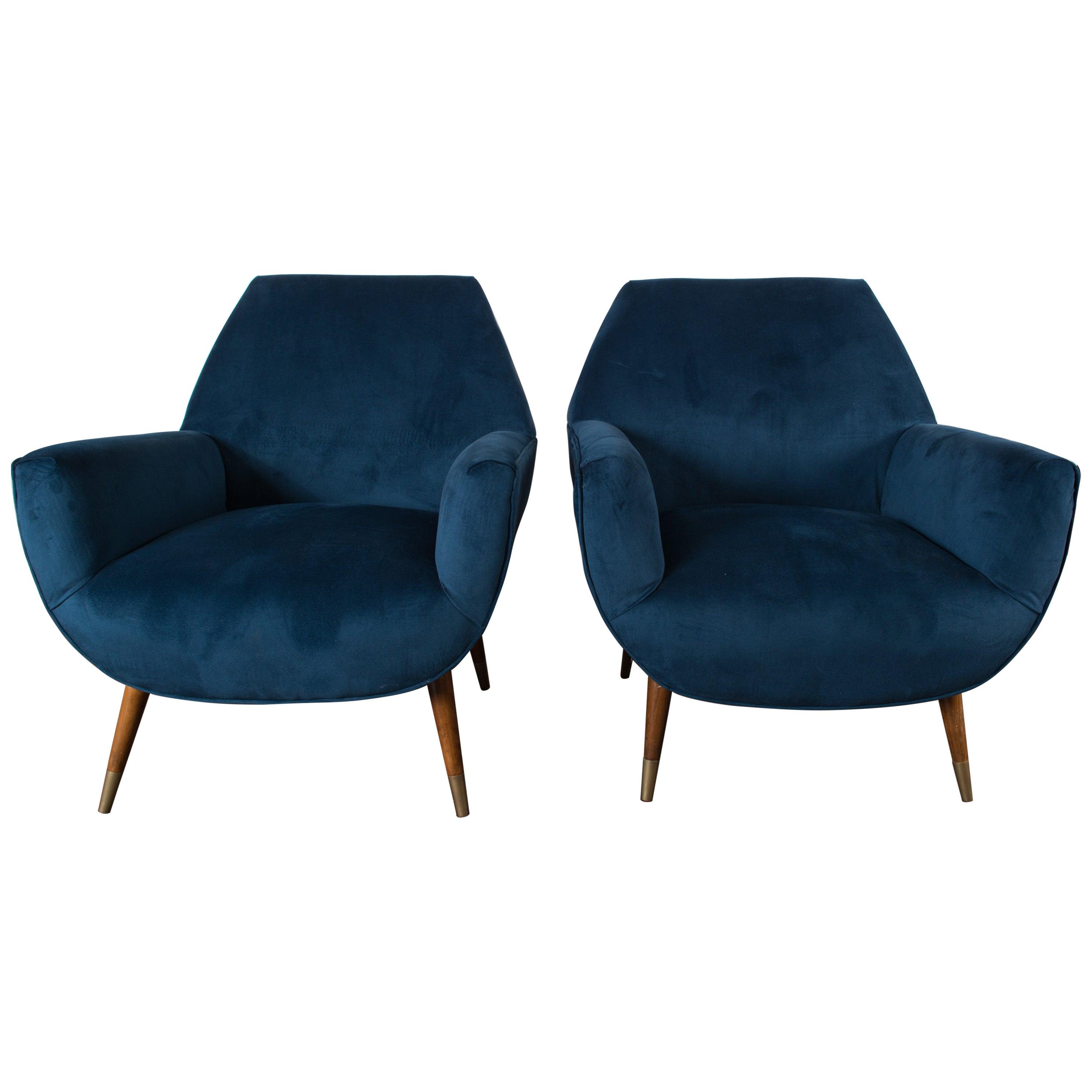 Pair of Italian Blue Velvet Mid-Century Modern Lounge Chairs