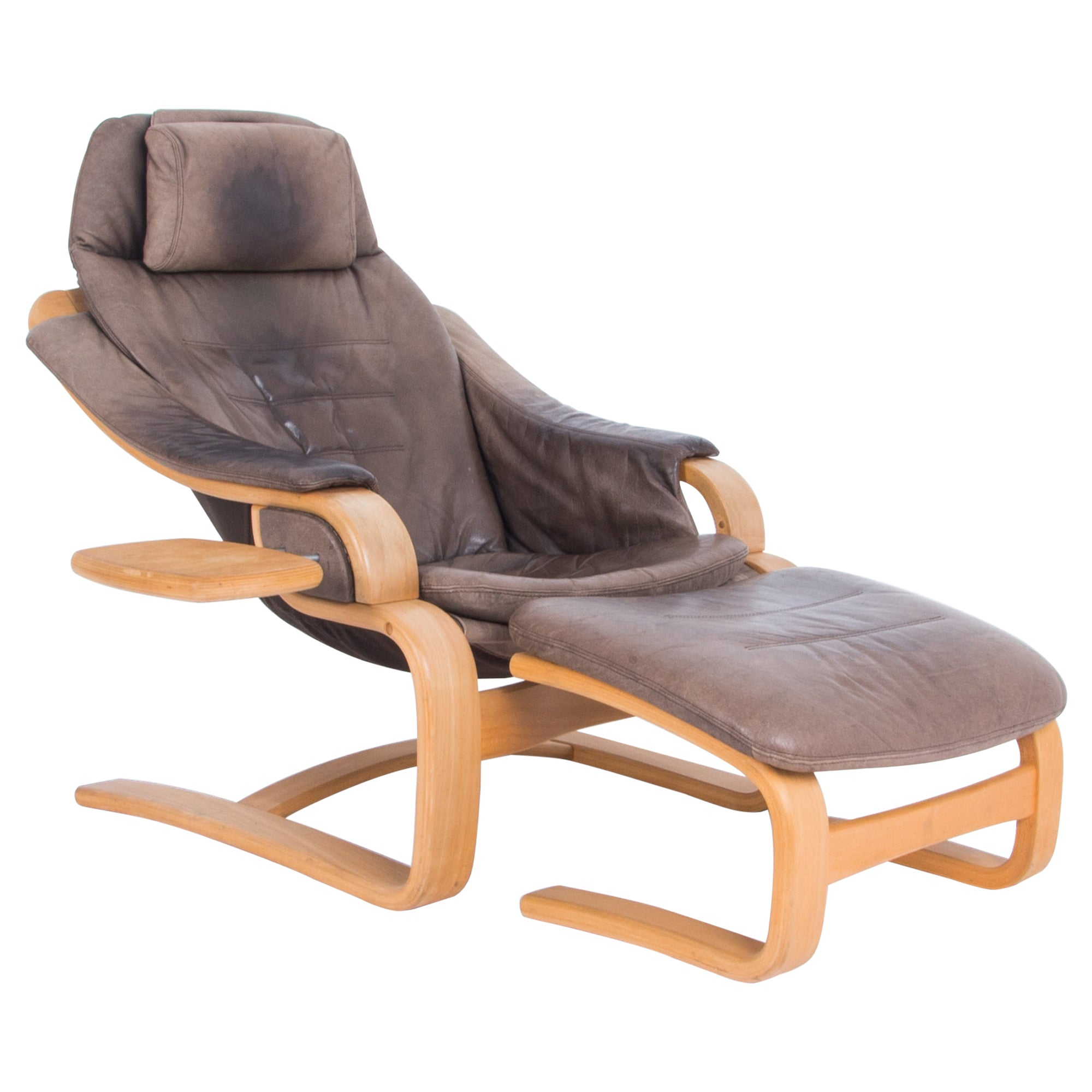 Skipper Mobler Leather Armchair and Footrest