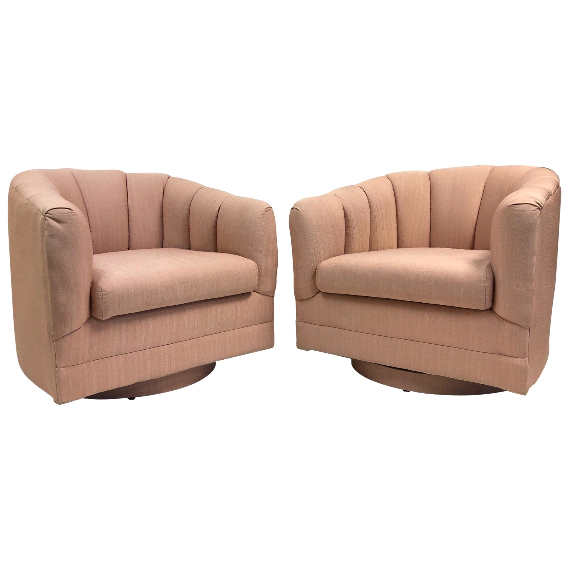 Pair of Swivel Lounge Chairs Style of Milo Baughman