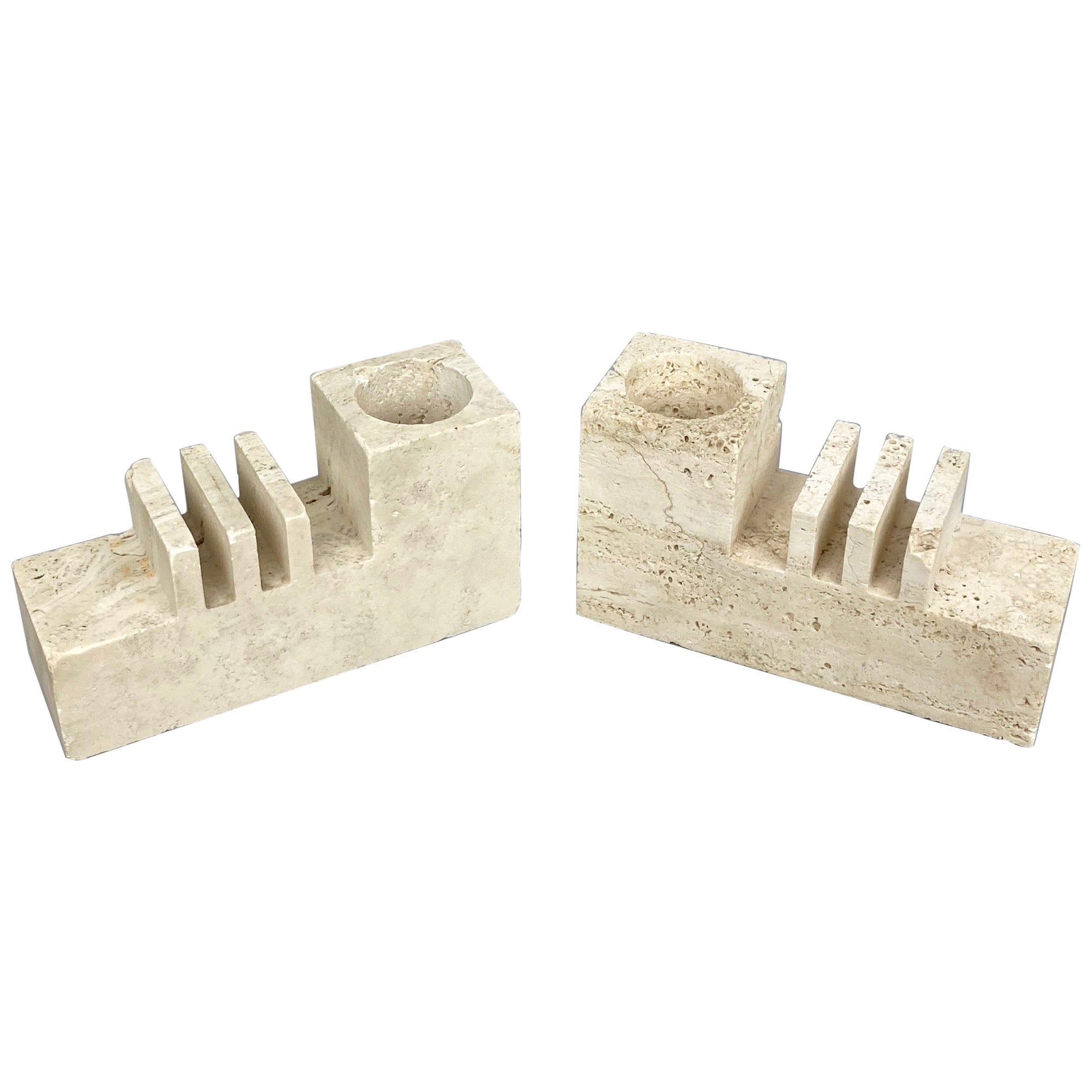 Pair of Travertine Letter and Pen Holder by Fratelli Mannelli, Italy, 1970s