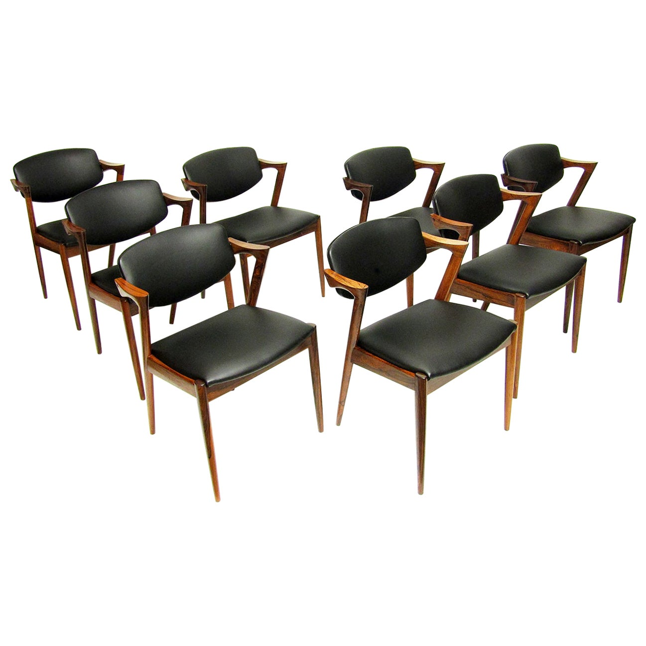 8 Danish Model 42 Dining / Conference Chairs in Rio Rosewood by Kai Kristiansen