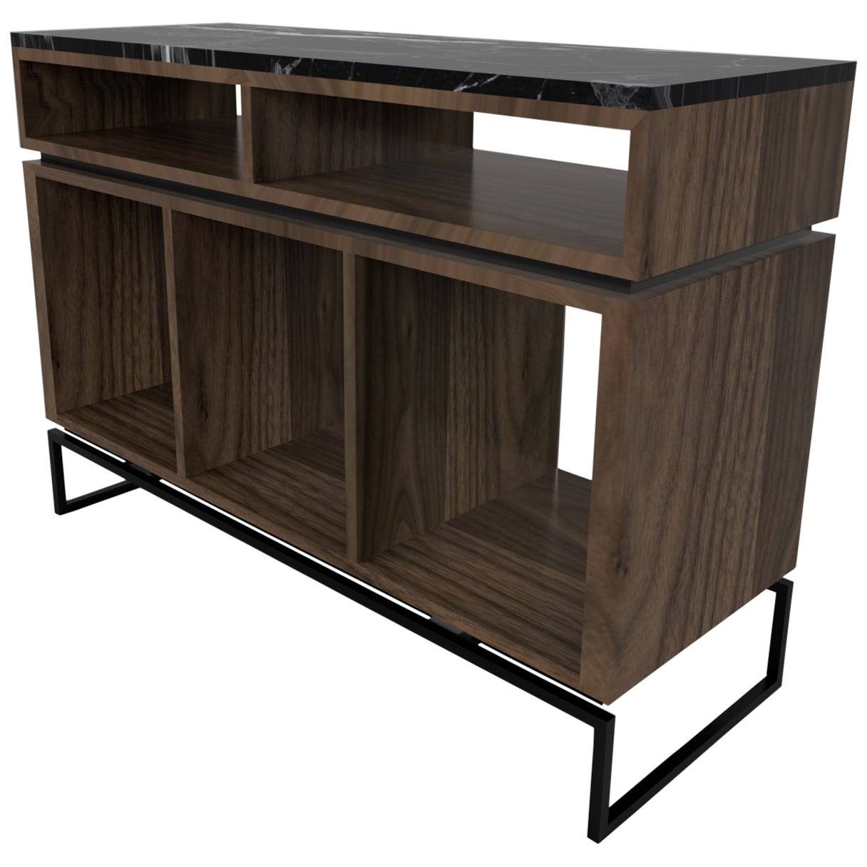 Pelios DJ Console Table Walnut Veneer Structure, Metal Legs and Marble Surface