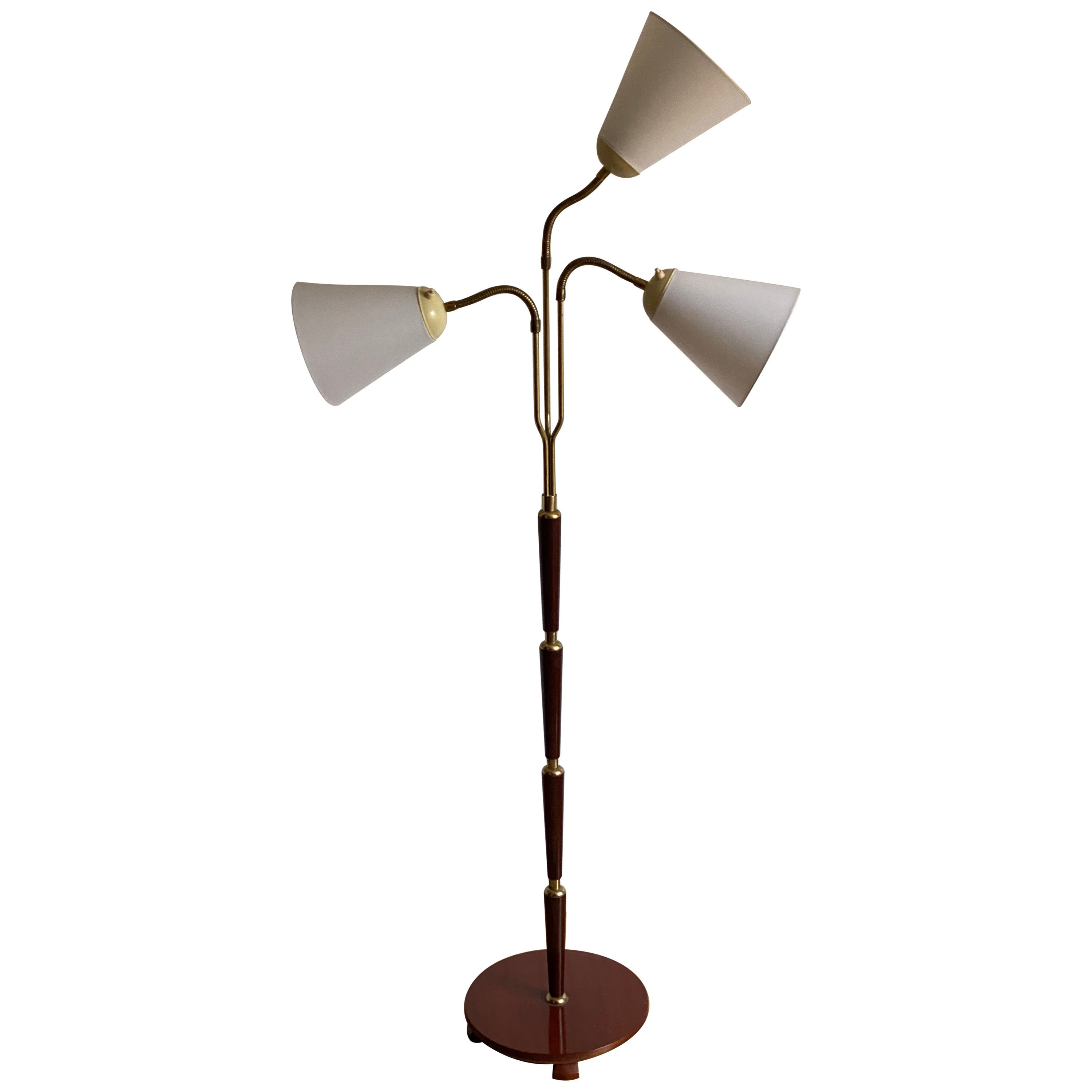 Swedish Designer, Functionalist Floor Lamp, Brass, Mahogany, Fabric, 1940s