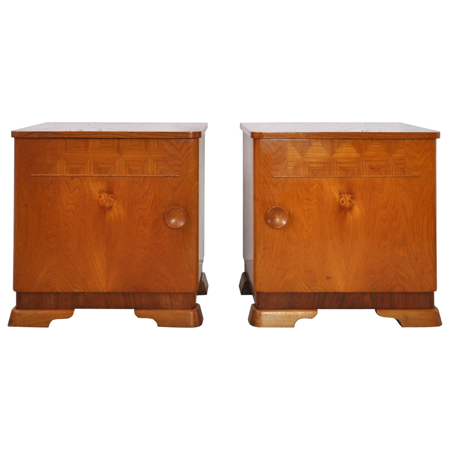 Danish Art Deco Pair of Nightstands or Small Cabinets, 1930s